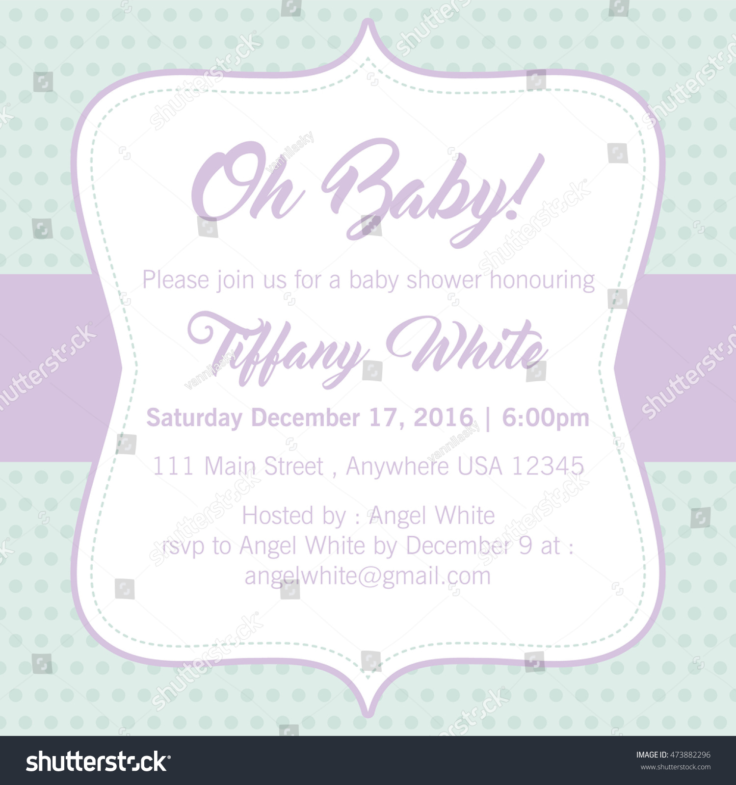 Baby Shower Invitation Soft Color Background Stock Vector ...