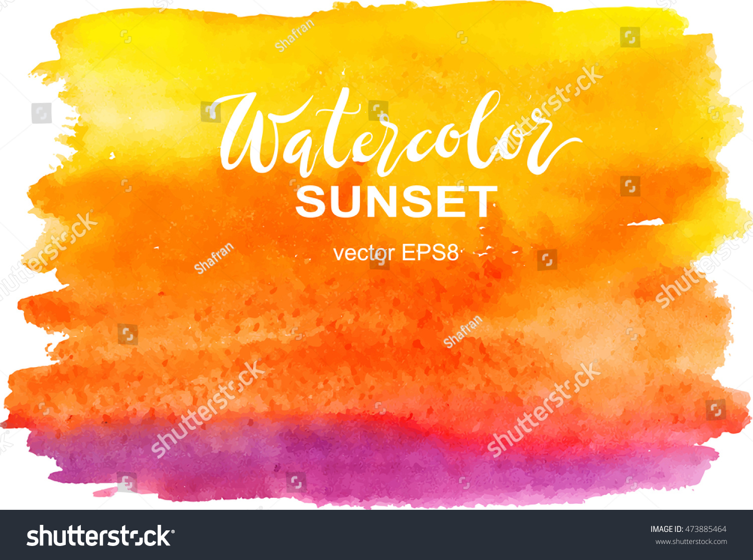 Hand painted mermaid watercolor vector silhouette stock vector - Abstract Watercolor Yellow Orange Pink Brushstroke Sunset Sky Vector Illustration Hand Painted
