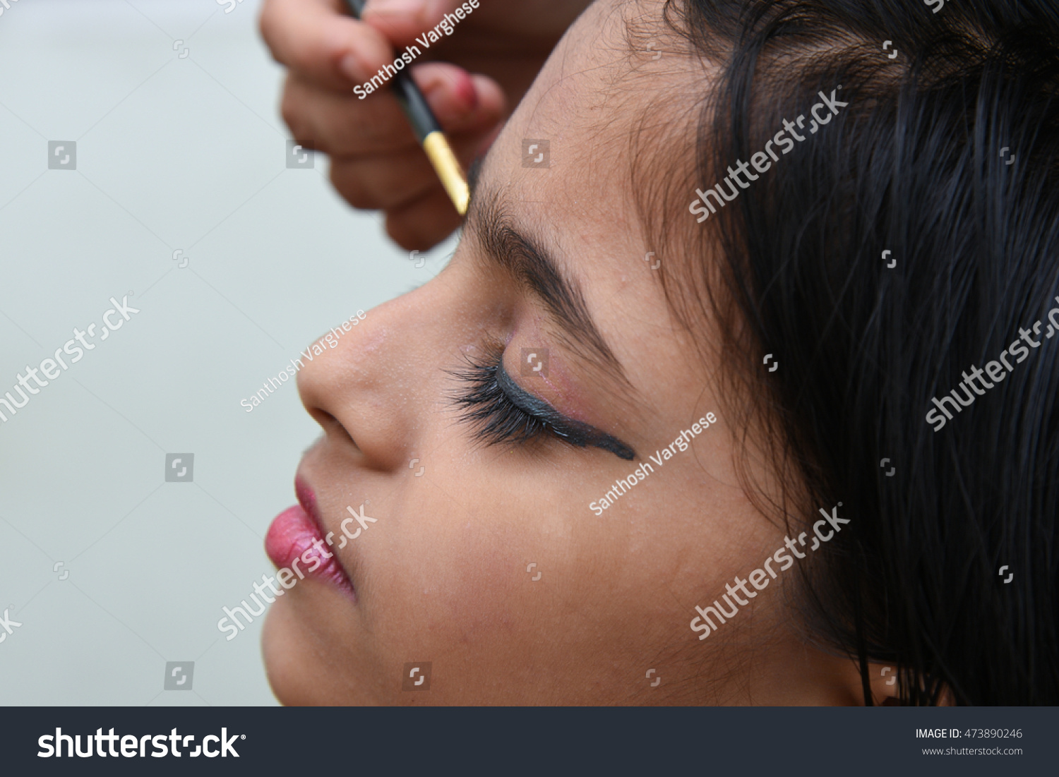 Makeup Artist Putting Eye Makeupeyeliner On Stock Photo Edit Now