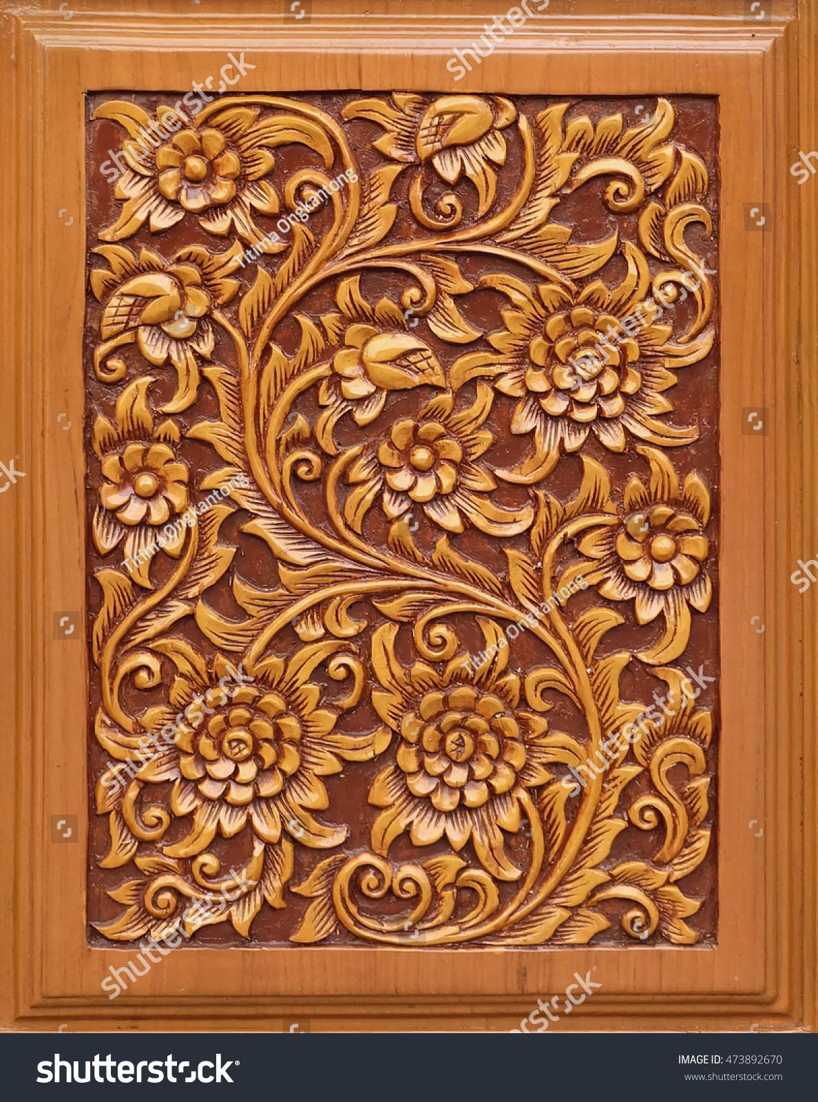 Royalty free wood thai pattern handmade woodu stock