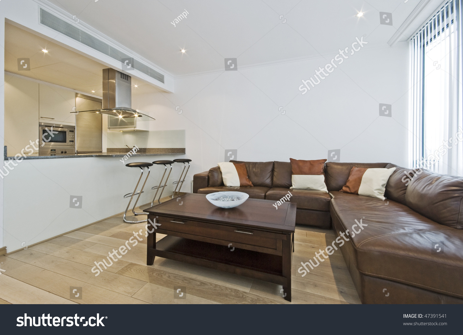 Modern Luxury Open Plan Living Room Stock Photo (Royalty Free ...