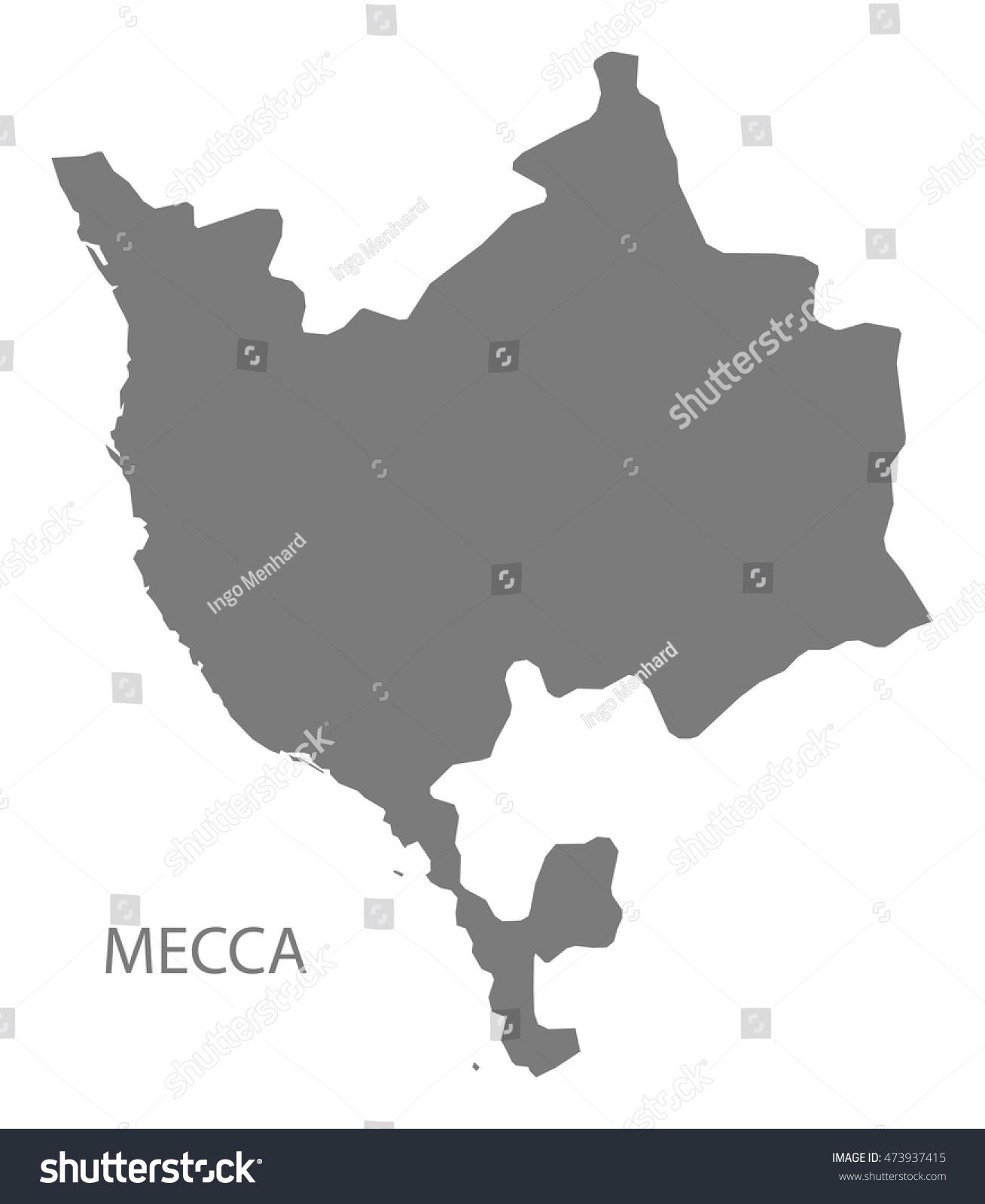Mecca Saudi Arabia Map Grey Stock Vector 473937415 - Shutterstock