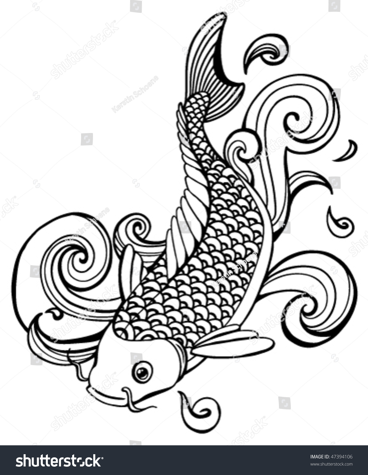 Koi fish vector stock vector 47394106 shutterstock for Koi fish vector