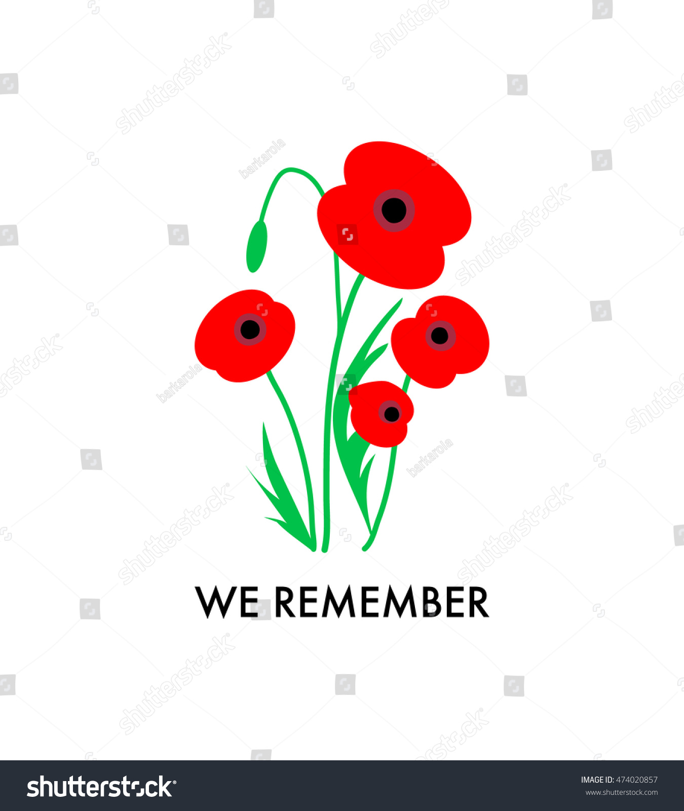 Remembrance Day Poppies On White Background Stock Vector Royalty