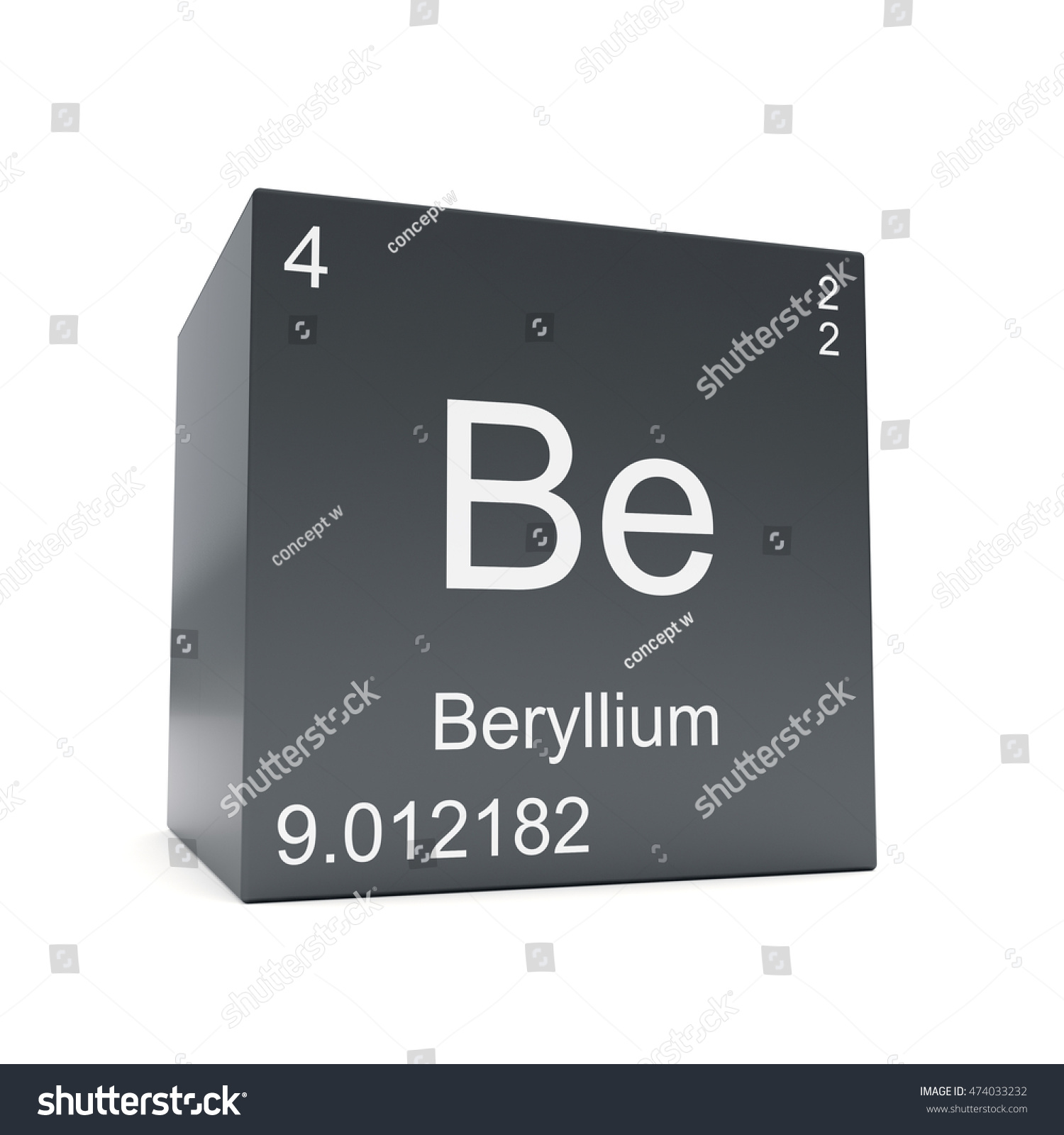 Beryllium chemical element symbol periodic table stock beryllium chemical element symbol from the periodic table displayed on black cube 3d render buycottarizona Image collections