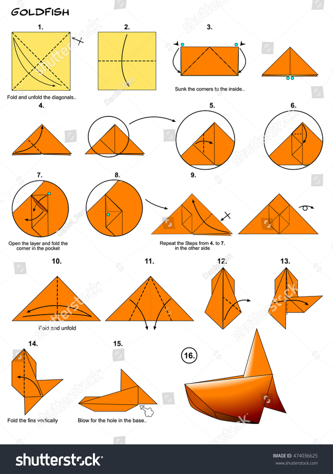 origami sea animal fish goldfish diagram instructions steps