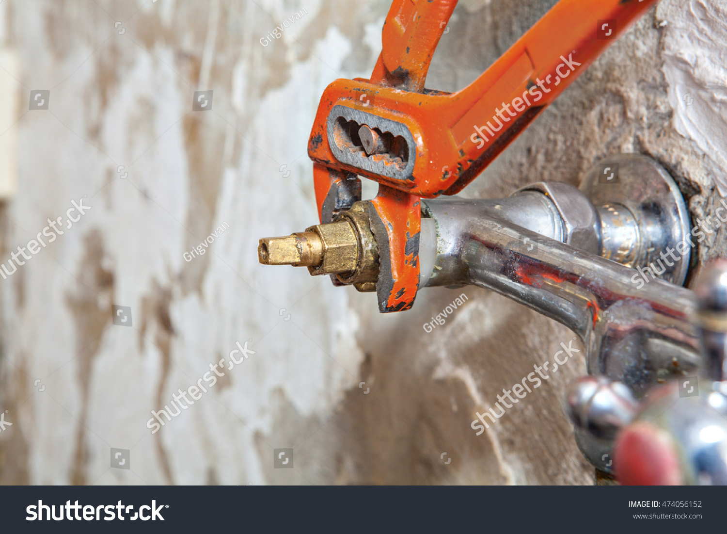 stock photo two handle kitchen faucet repair remove water tap valve replacing worn valve seat using red 474056152