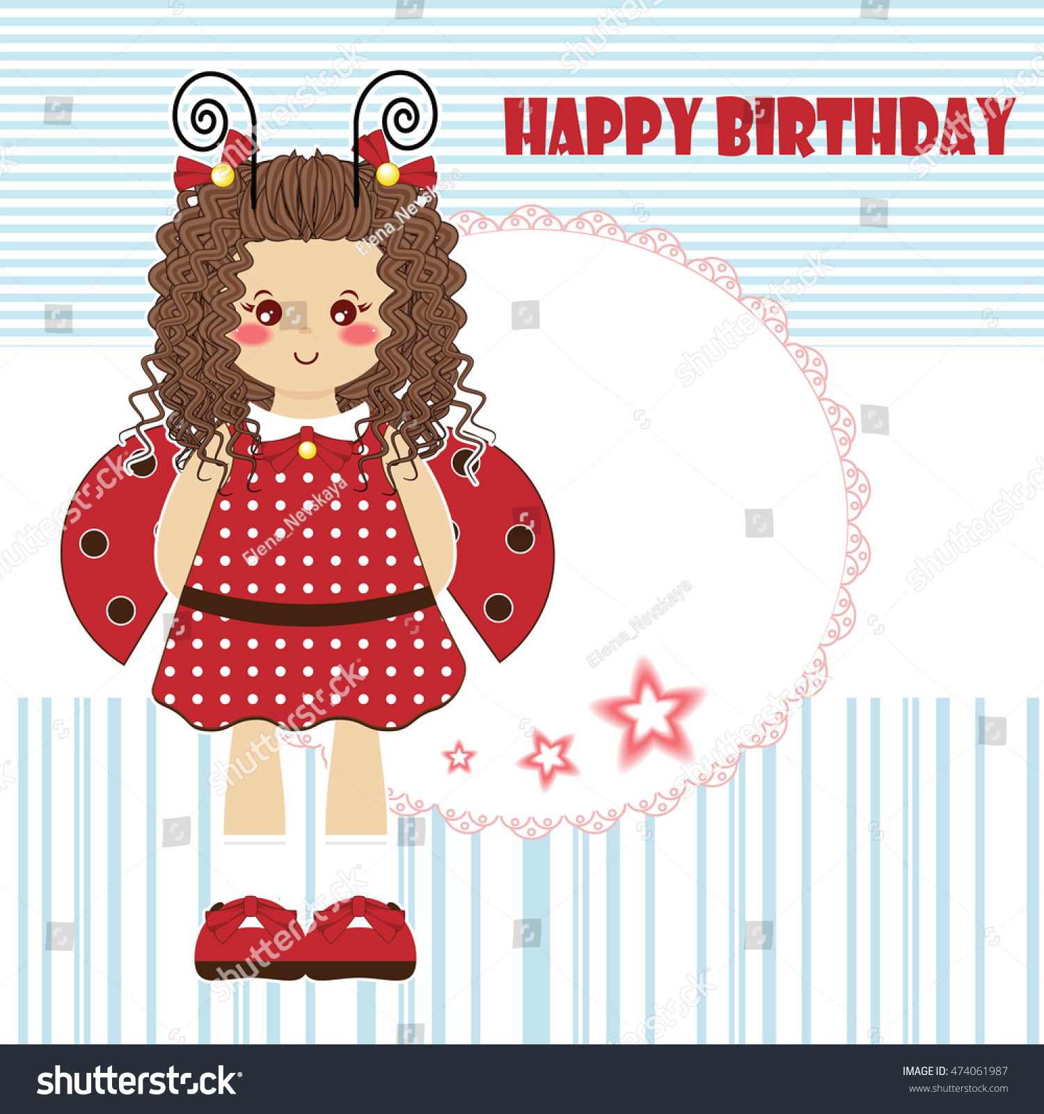 Happy birthday greeting card kawaii little stock vector 474061987 happy birthday greeting card kawaii little girl with curly hair and ladybug wings tender stopboris Images