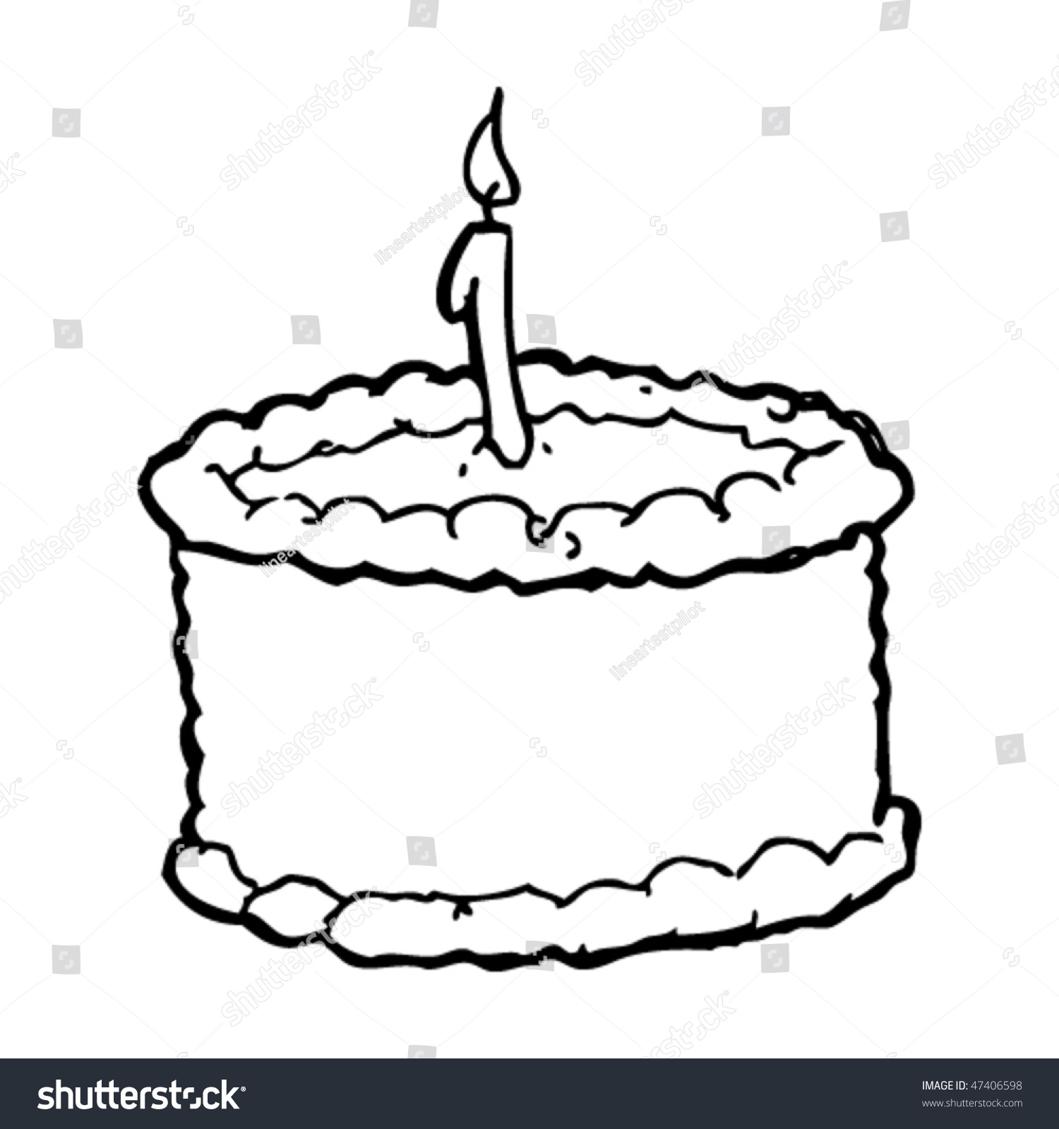Drawing Birthday Cake Candle Stock Vector 47406598 ...