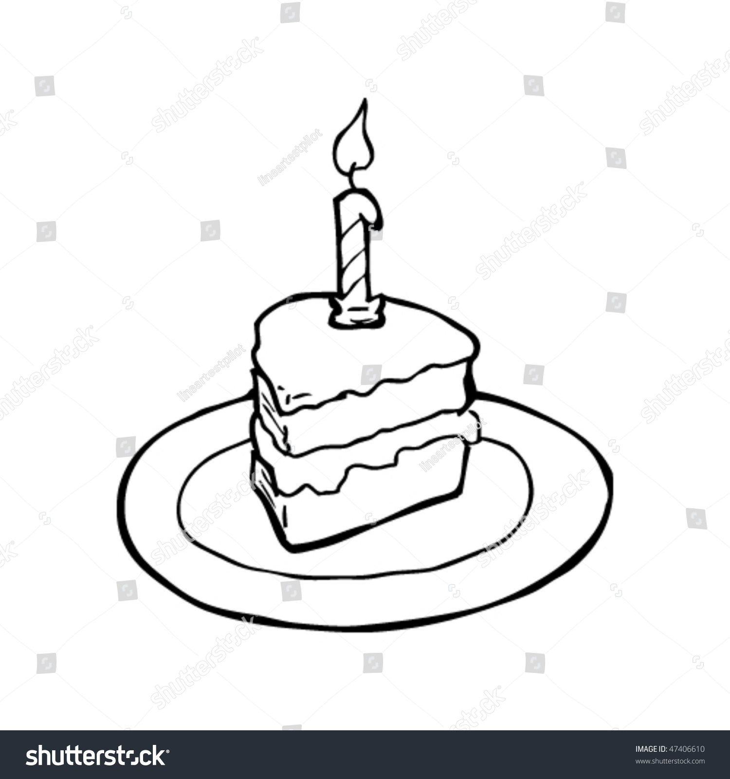 Drawing Slice Birthday Cake Stock Vector Royalty Free 47406610