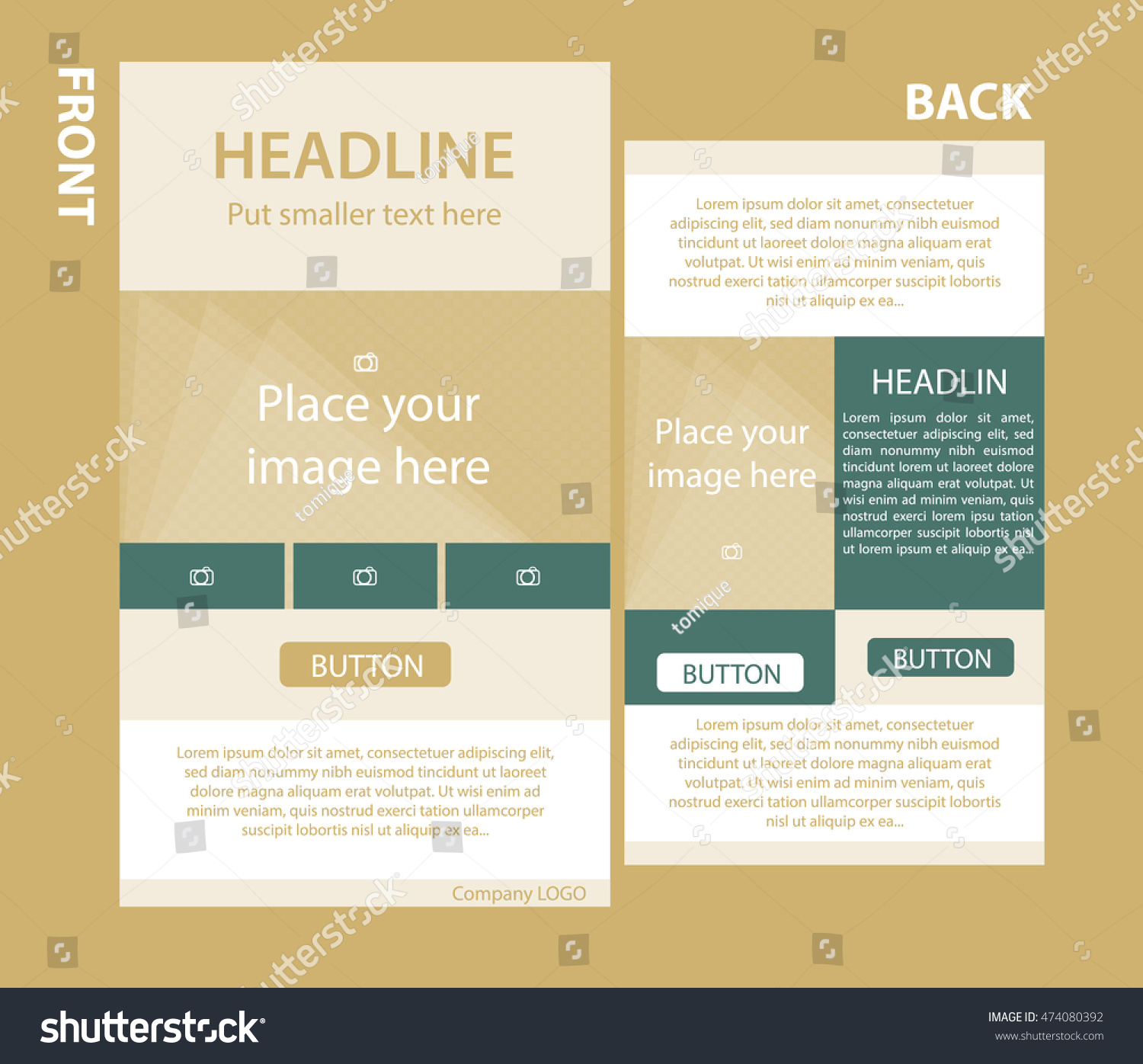 newsletter corporate vector template with front and back layout ez