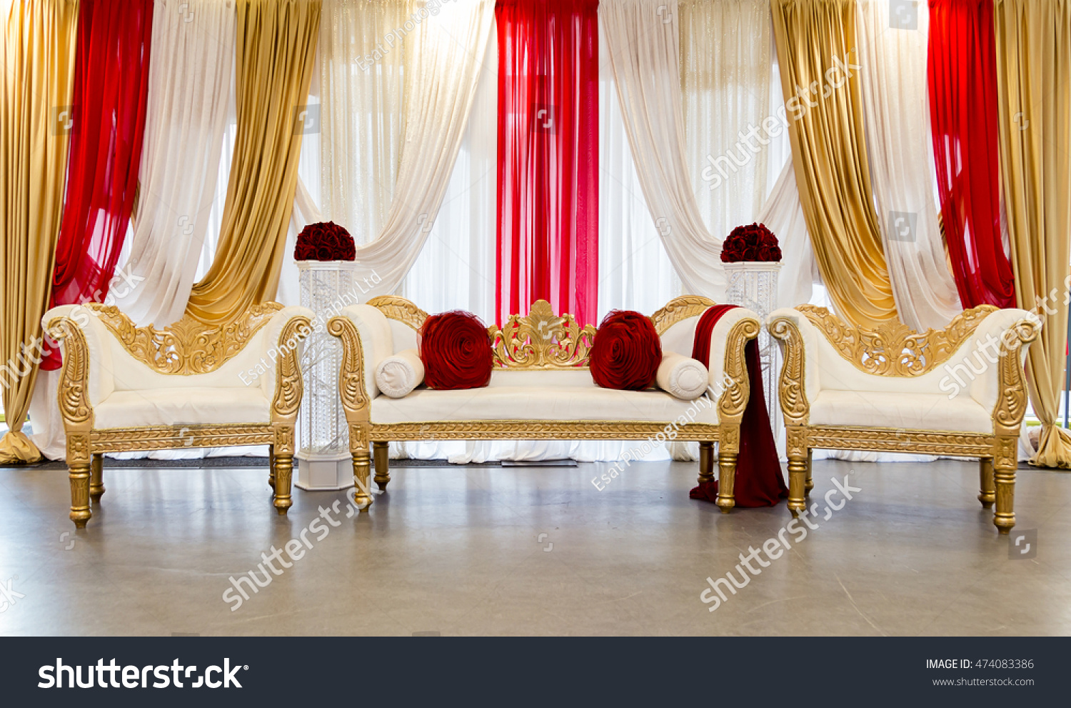 Red Gold Themed Wedding Stage Stock Photo Edit Now 474083386