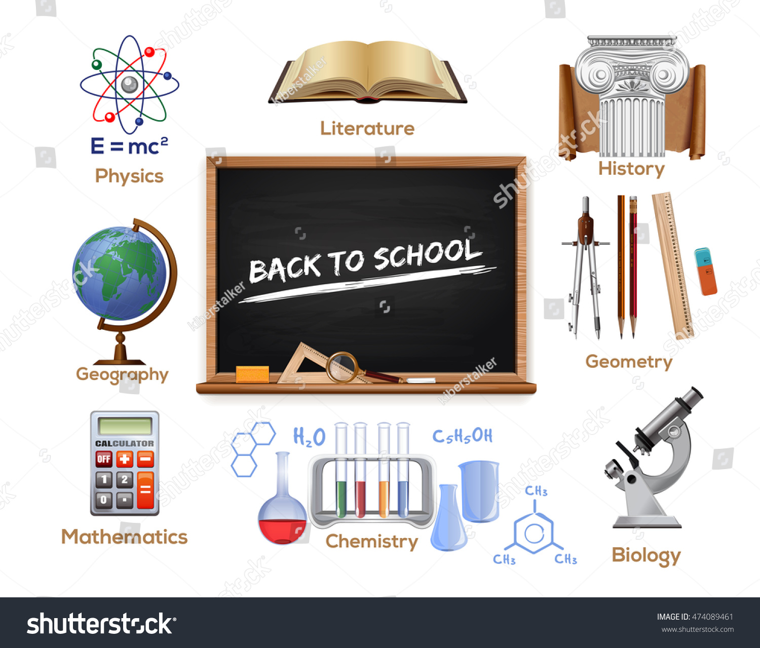 Deciding stock illustrations royalty free gograph - Set School Icons School Subjects Physics Literature History Geometry Biology