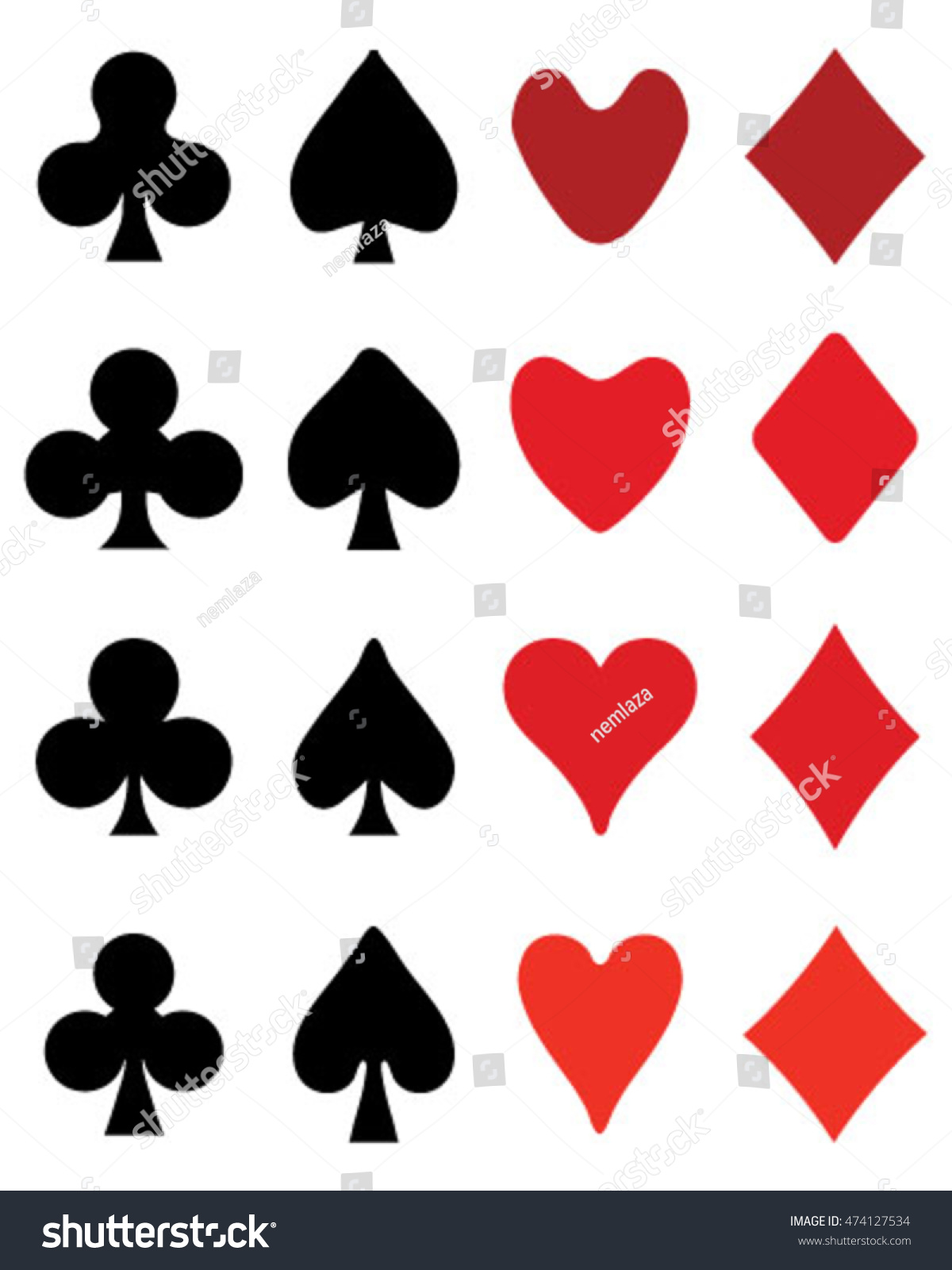 Set Playing Card Symbols On White Stock Vector 474127534