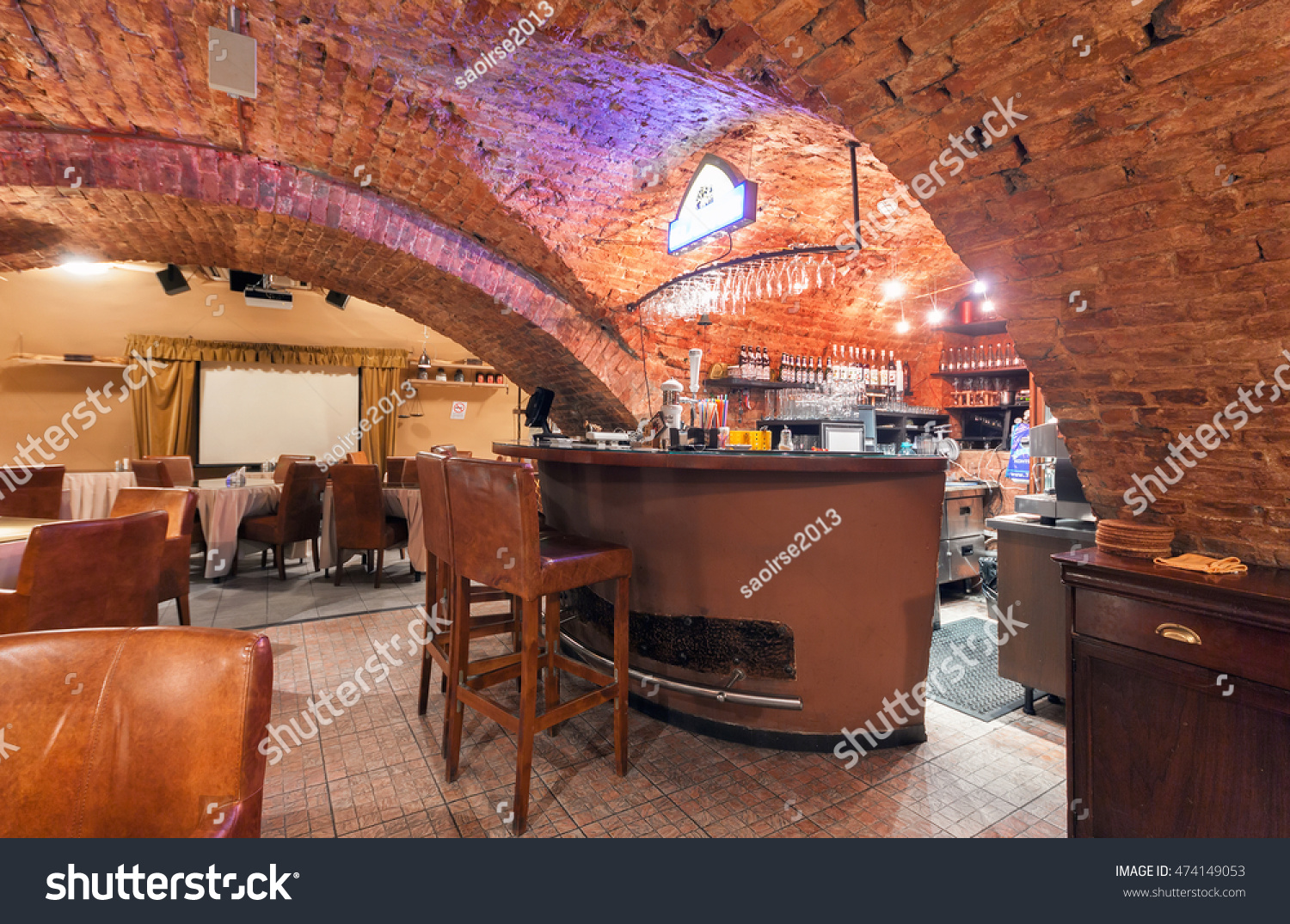 moscow july 2014 interior beer restaurant stock photo 474149053