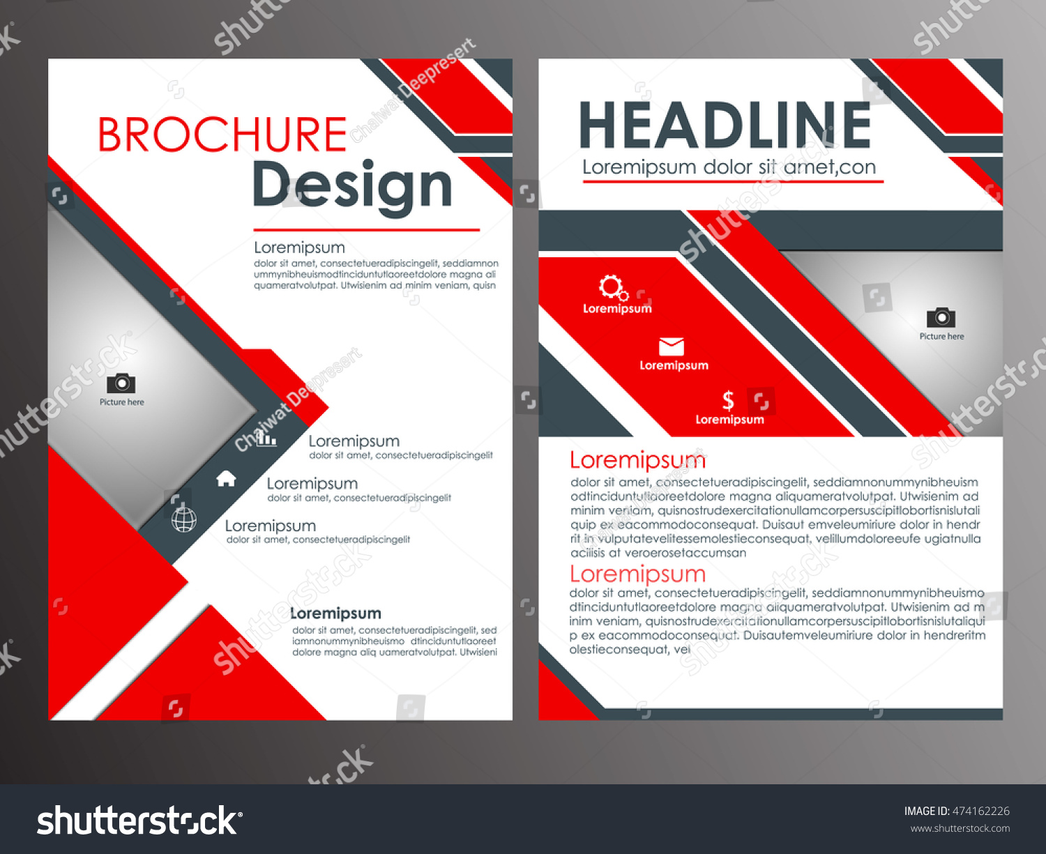 Abstract Red Black Brochure Template Your Stock Vector Royalty Free