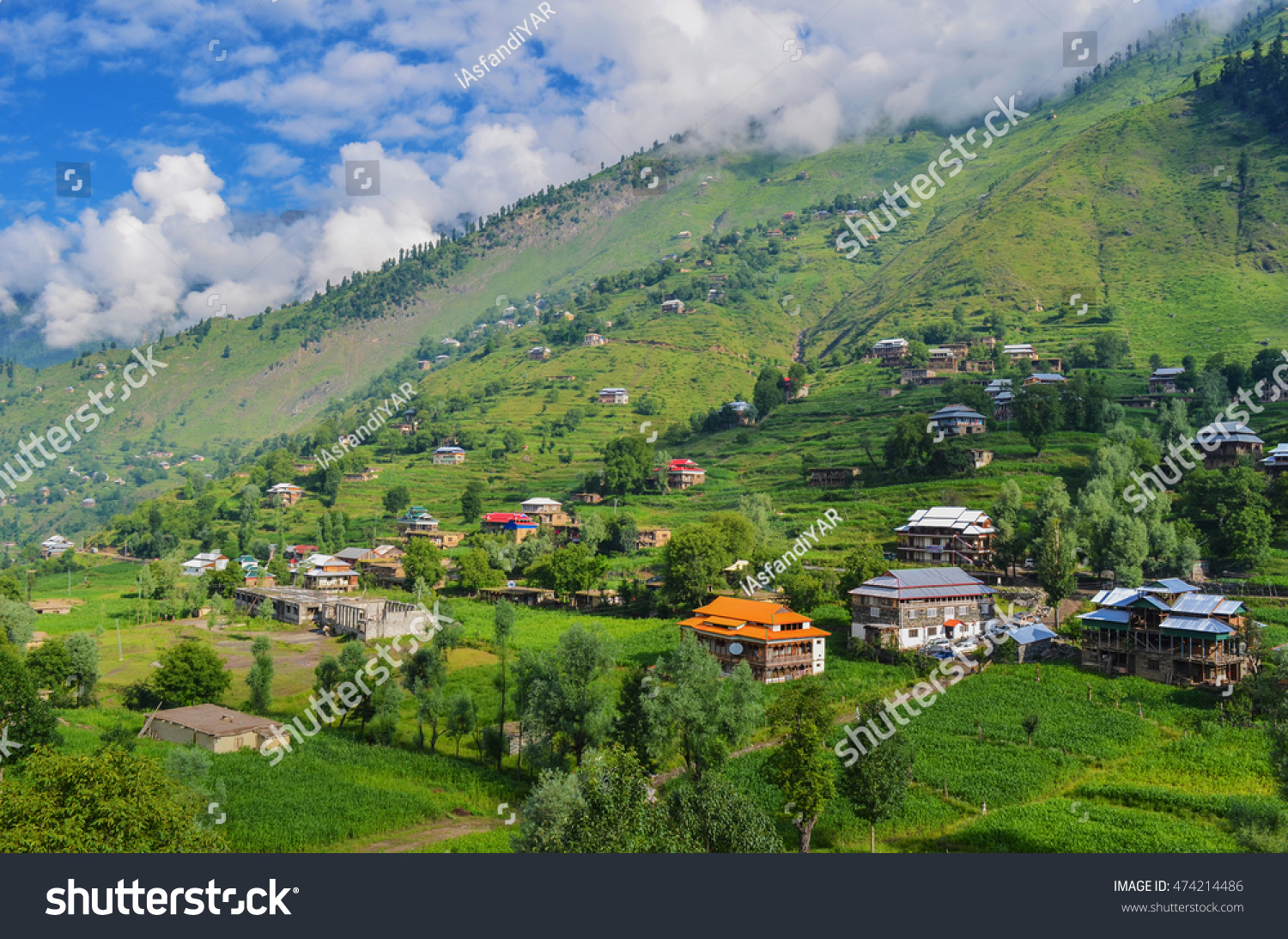 Beautiful landscape view of kashmir pakistan village houses made of woods