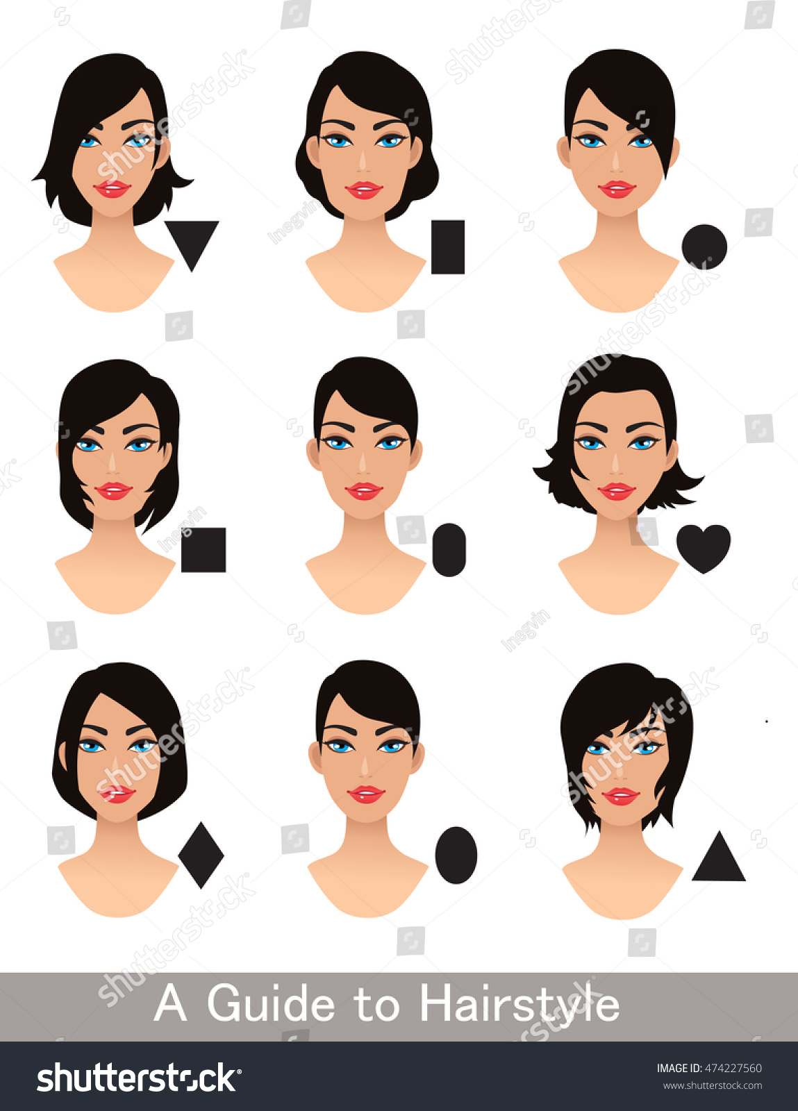 Pleasant Hairstyles Different Face Shapes Short Haircut Stock Vector Schematic Wiring Diagrams Amerangerunnerswayorg