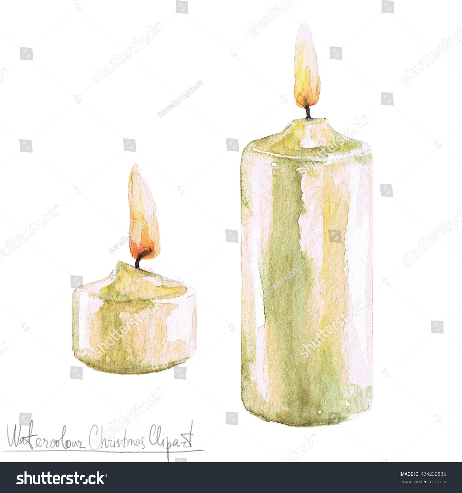 Completely new Watercolor Christmas Clipart Candles Stock Illustration 474232885  WO91