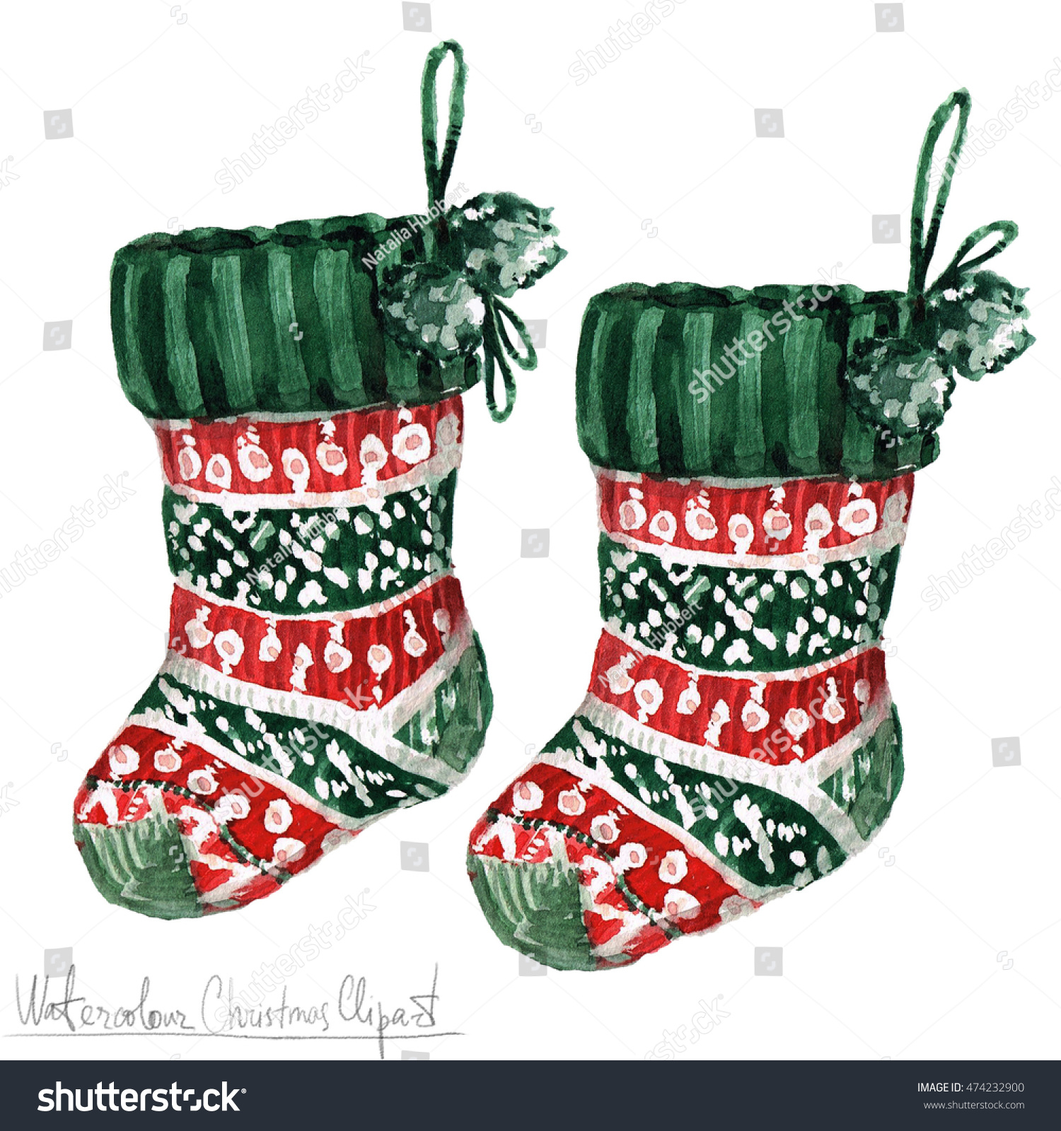 Watercolor Christmas Clipart Socks Stock Illustration 474232900