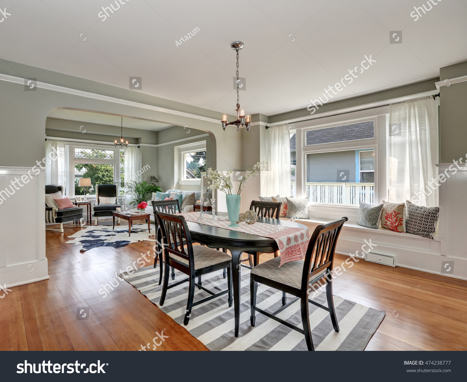 view classic dining room gray walls stock photo 474238777 view of a classic dining room with gray walls and medium tone hardwood floors dark