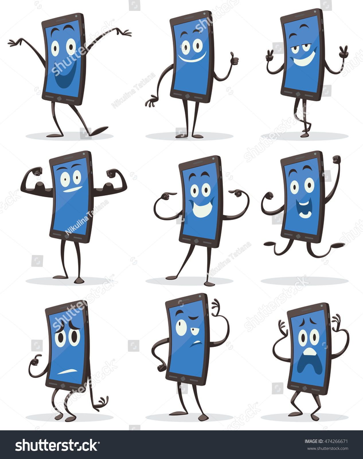 Vector set of cartoon images of black smartphones with blue screens with arms and legs with a variety of emotions and actions on a white background. Positive character. Vector illustration. #474266671