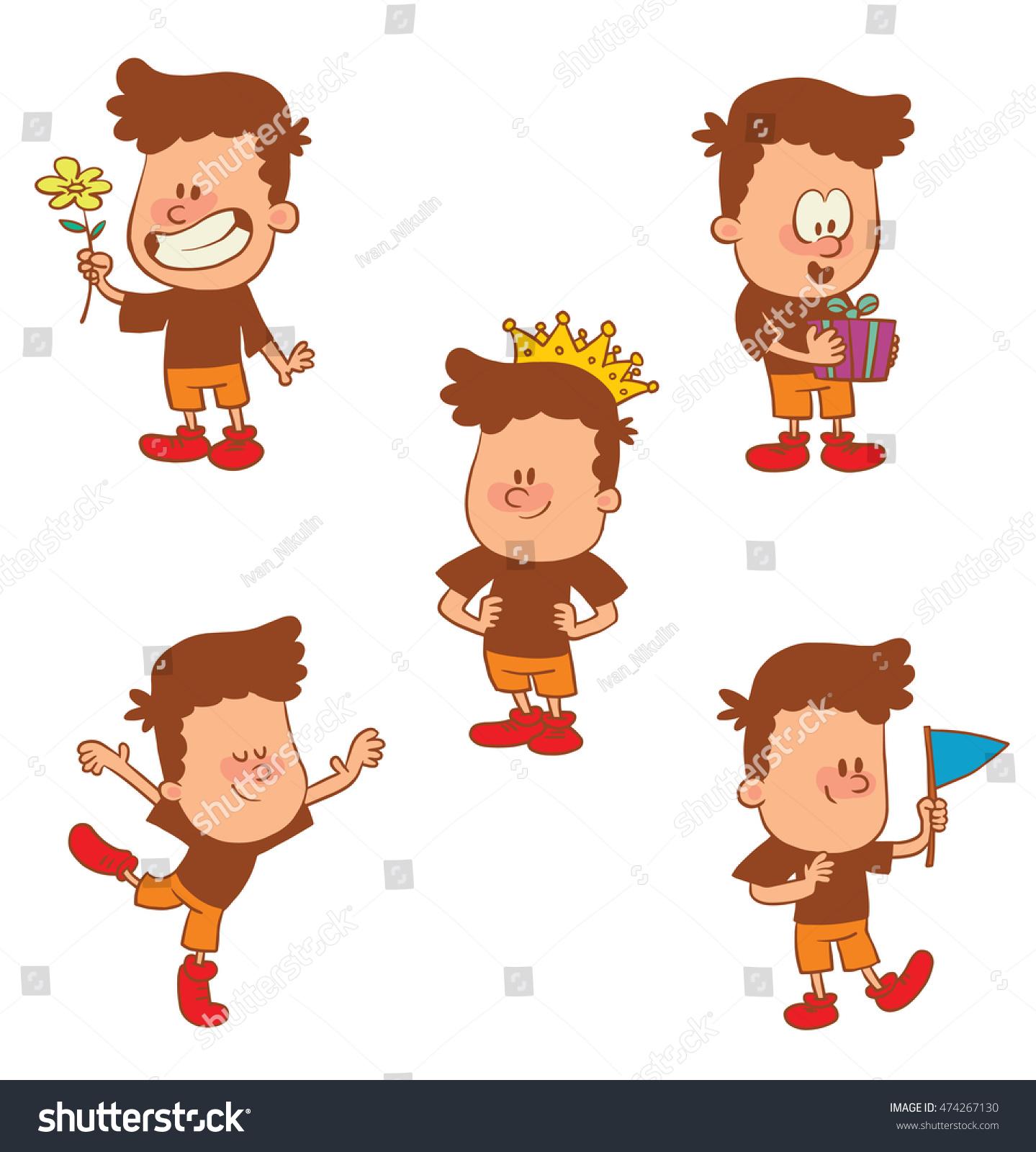 Vector Cartoon Set Of Cute Little Boys With A Crown On Head