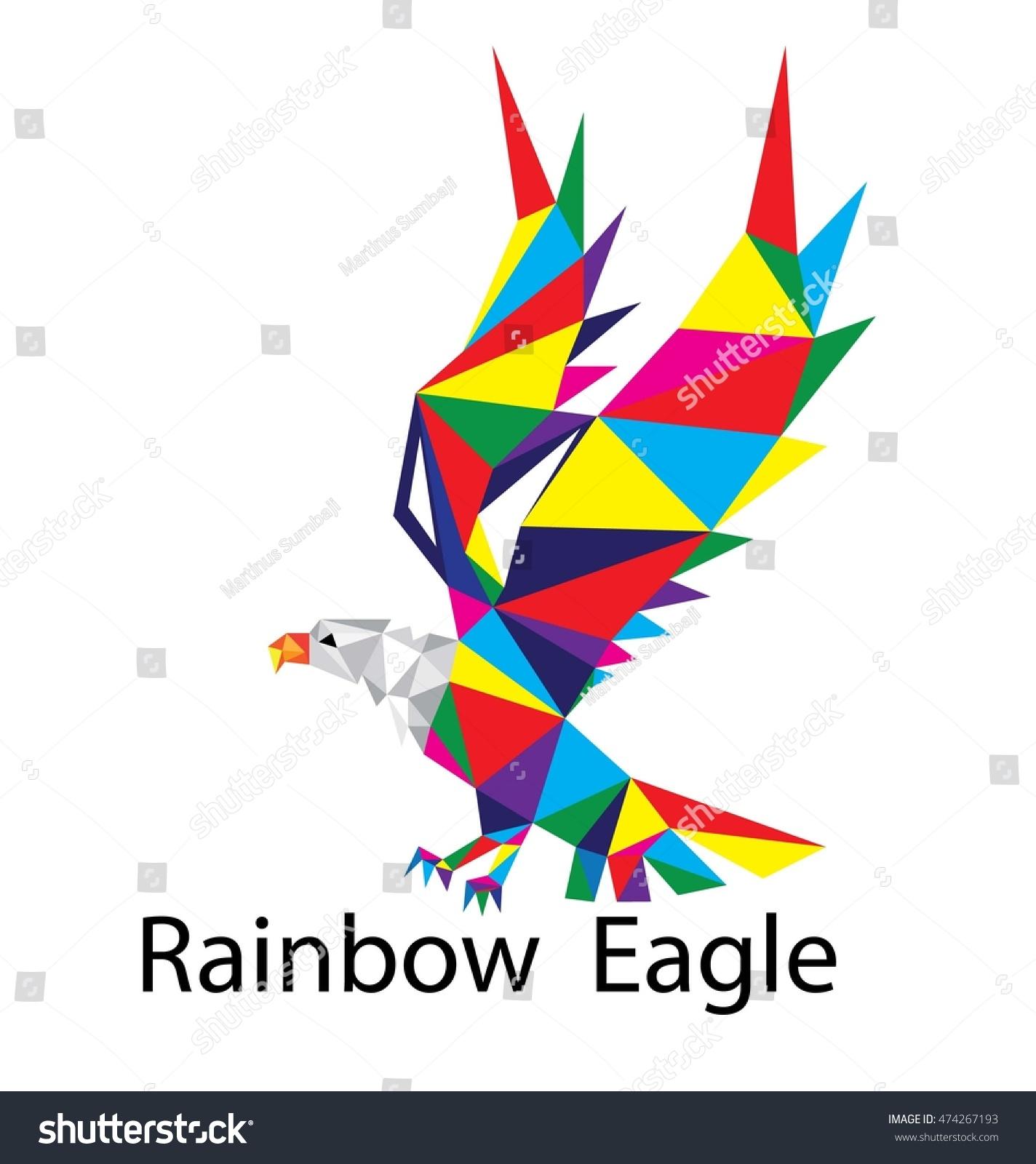 d007d27be1b7 Rainbow Eagle Logo Art Vector Geometric Wektor stockowy ...