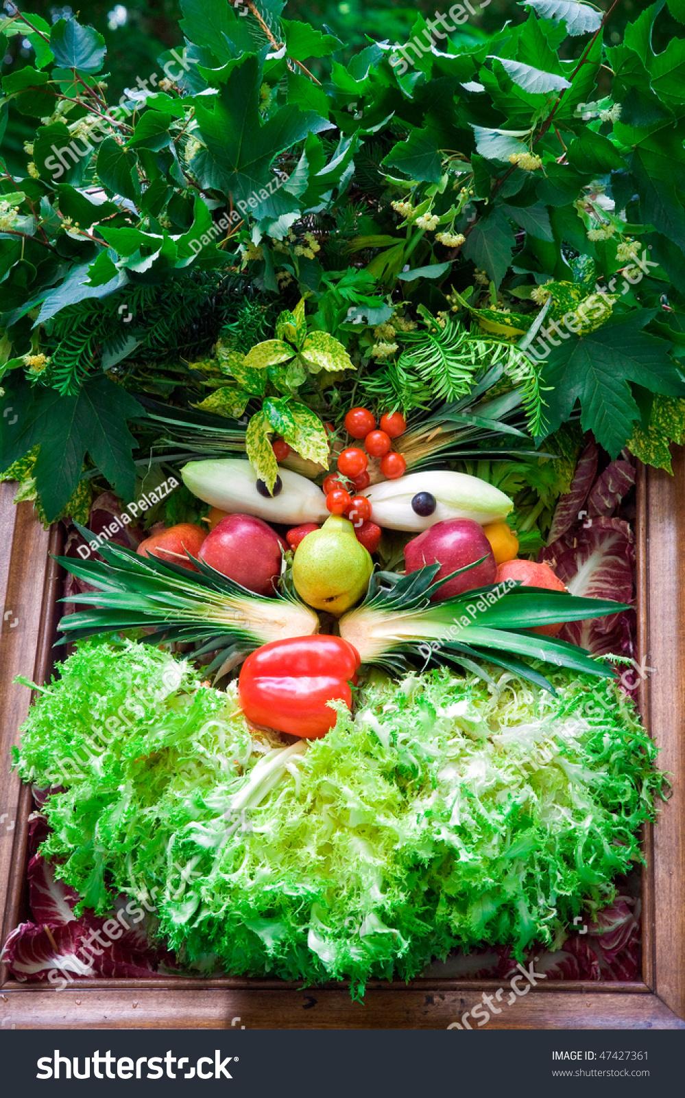 Human Face Vegetables Fruits Manner Arcimboldi Stock Photo ...