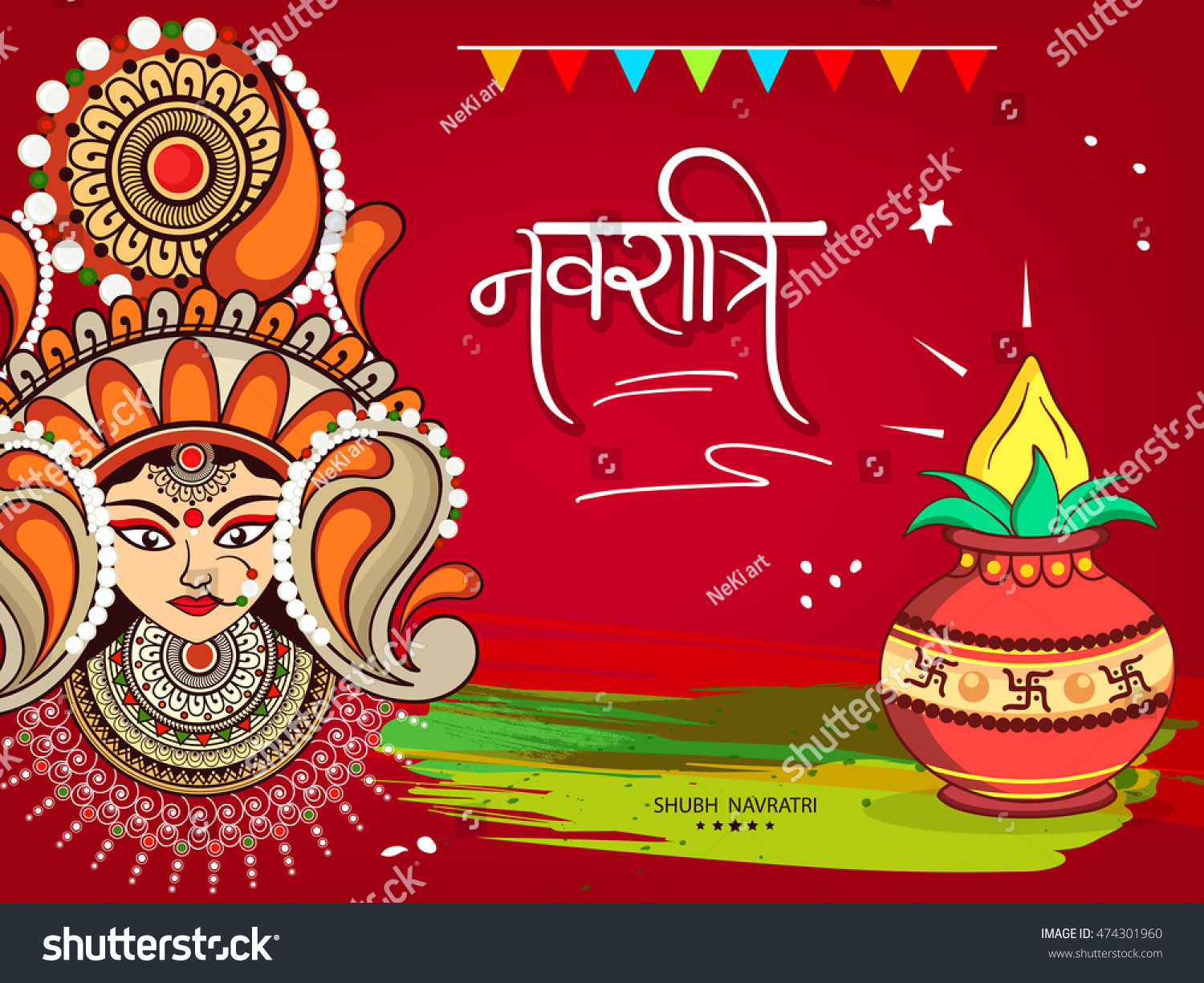 Beautiful greeting card wallpaper design hindu stock vector beautiful greeting card or wallpaper design for hindu festival shubh navratri or durga pooja with maa kristyandbryce Image collections