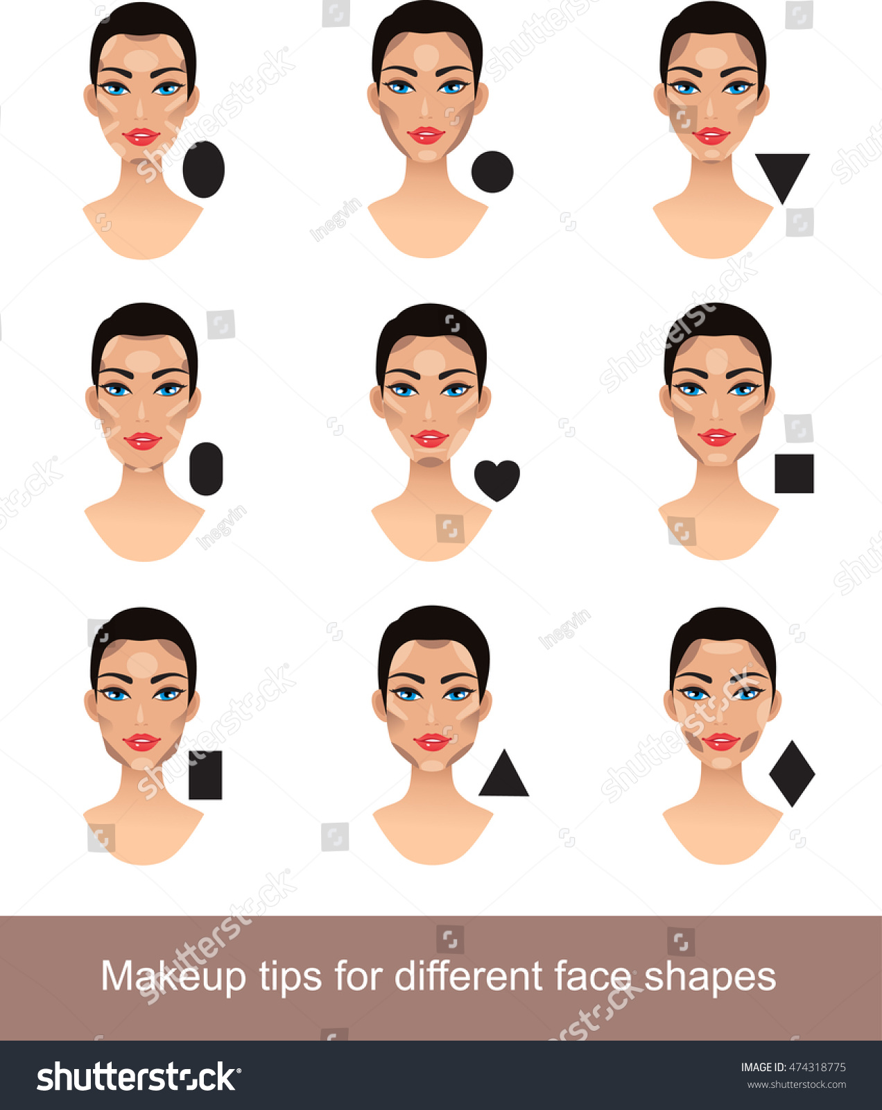 Makeup different face shapes contouring tricks stock vector makeup for different face shapes contouring tricks for your face shape urmus Image collections