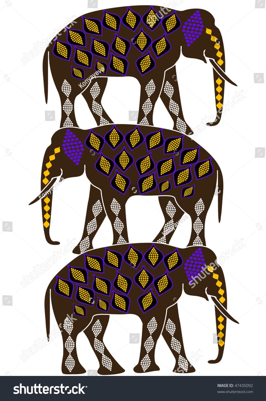 Elephants Ethnic Style Symbol Protection Stock Vector 47435092