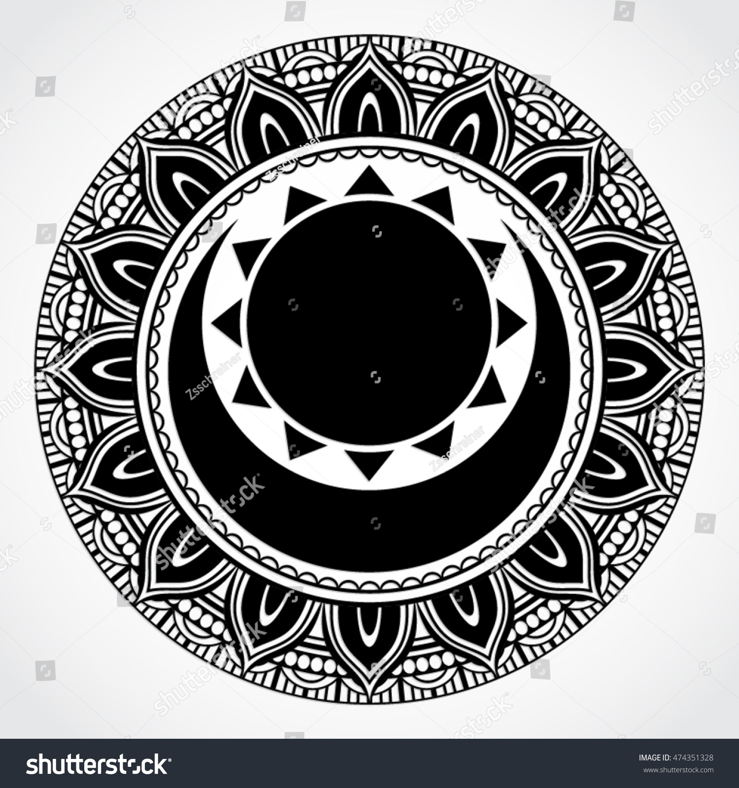 Black white ornamental mandala symbol sun stock vector 474351328 black white ornamental mandala symbol with sun and moon biocorpaavc Images