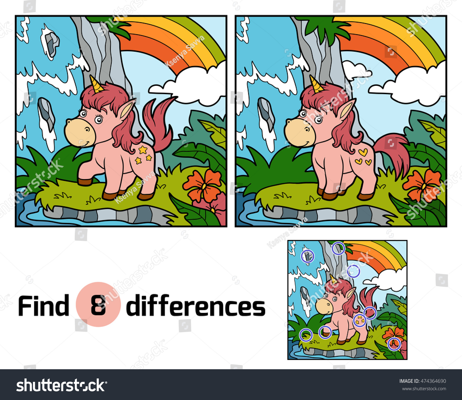 Find Differences Education Game Children Fairy Stock Vector ...