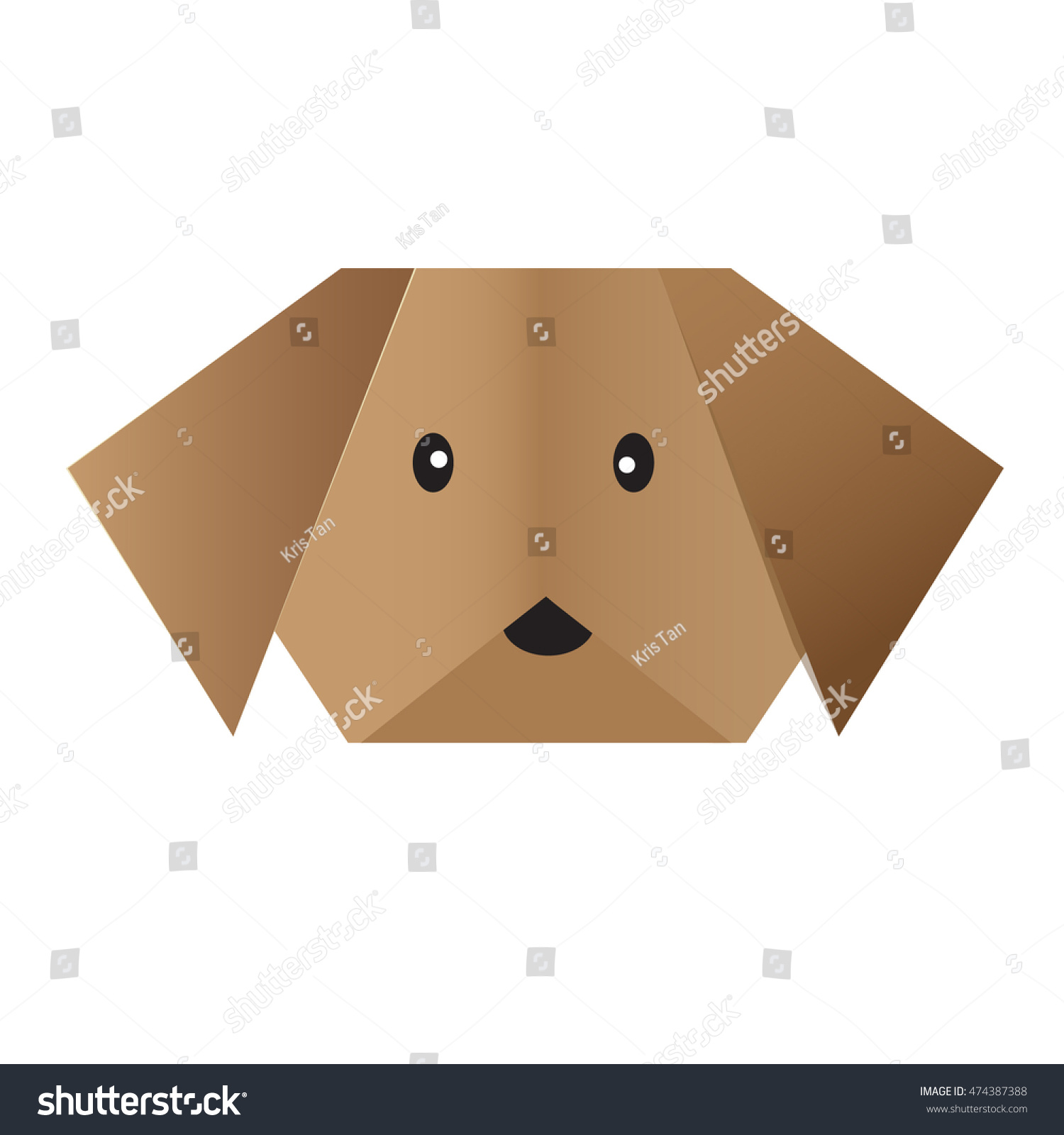 Origami dog face how to origami - Vector Origami Dog Face