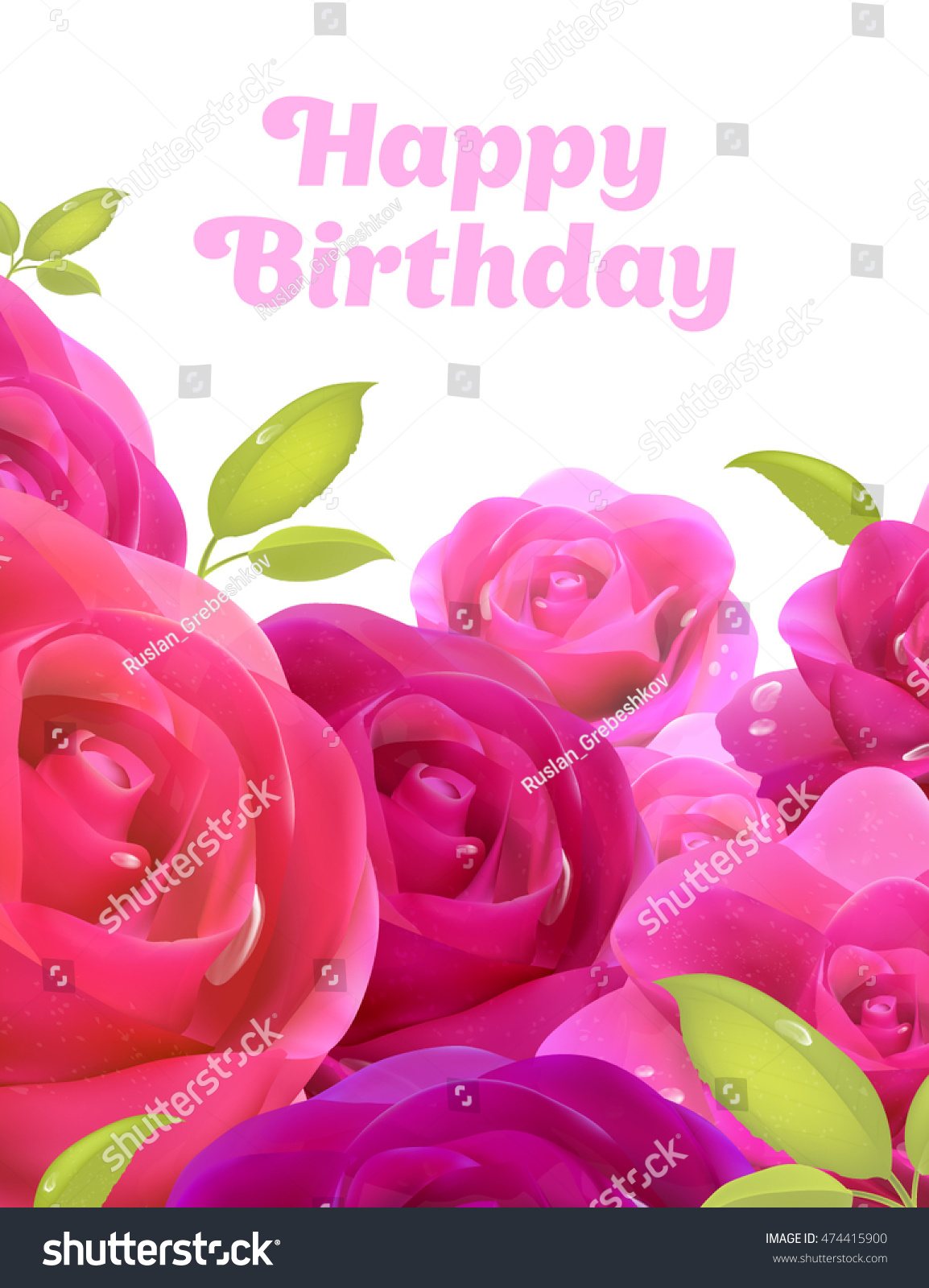 Pink Roses Happy Birthday Greeting Card Stock Vector Royalty Free