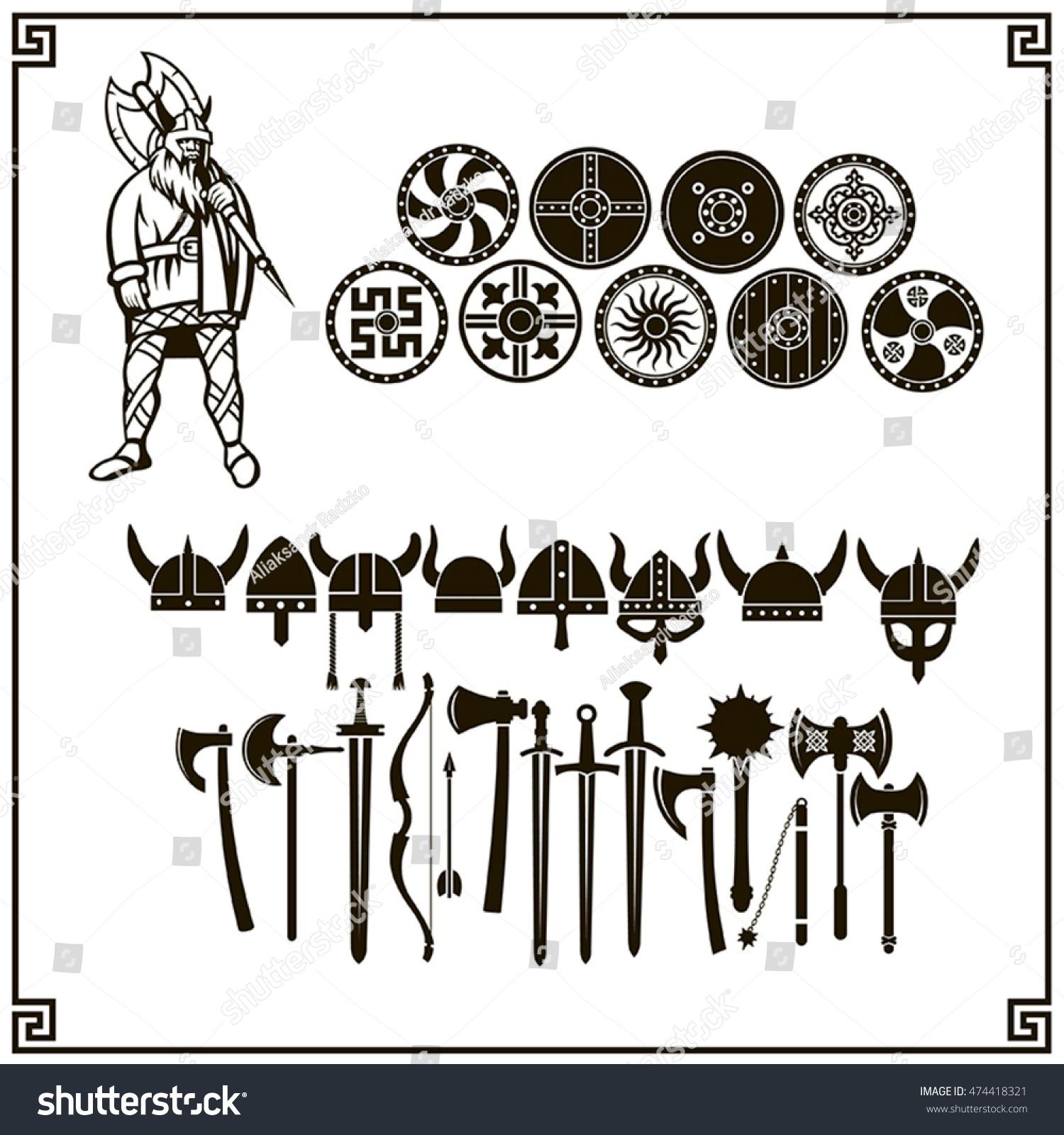 vector viking set weapons shields helmets stock vector 474418321 shutterstock. Black Bedroom Furniture Sets. Home Design Ideas