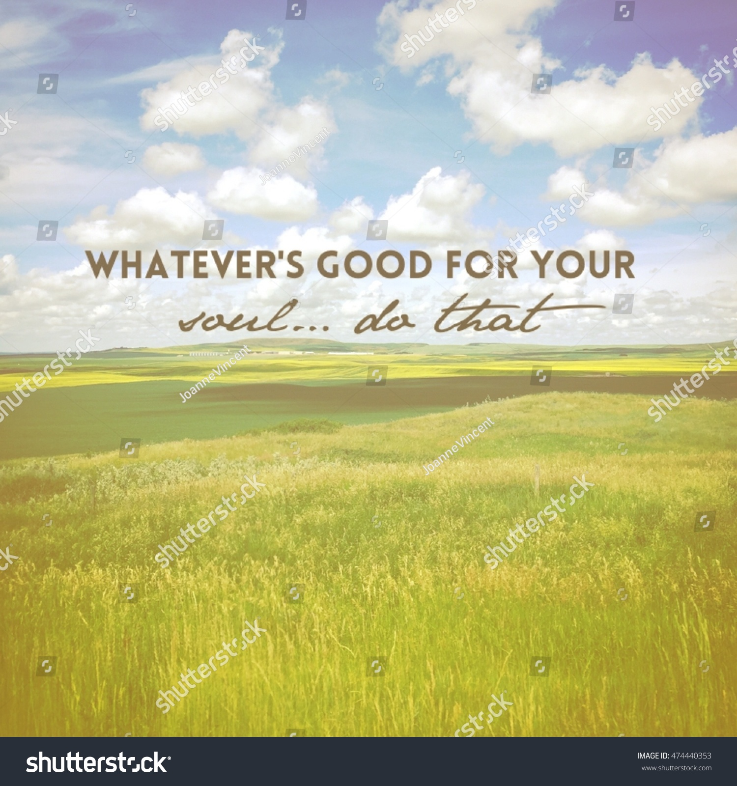 Farmers Quote Farmers Field Inspirational Quote Whatevers Good Stock Photo