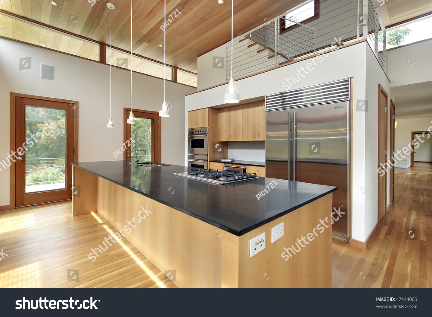 Granite Island Kitchen Kitchen In Ultra Modern Home With Black Granite Island Stock Photo