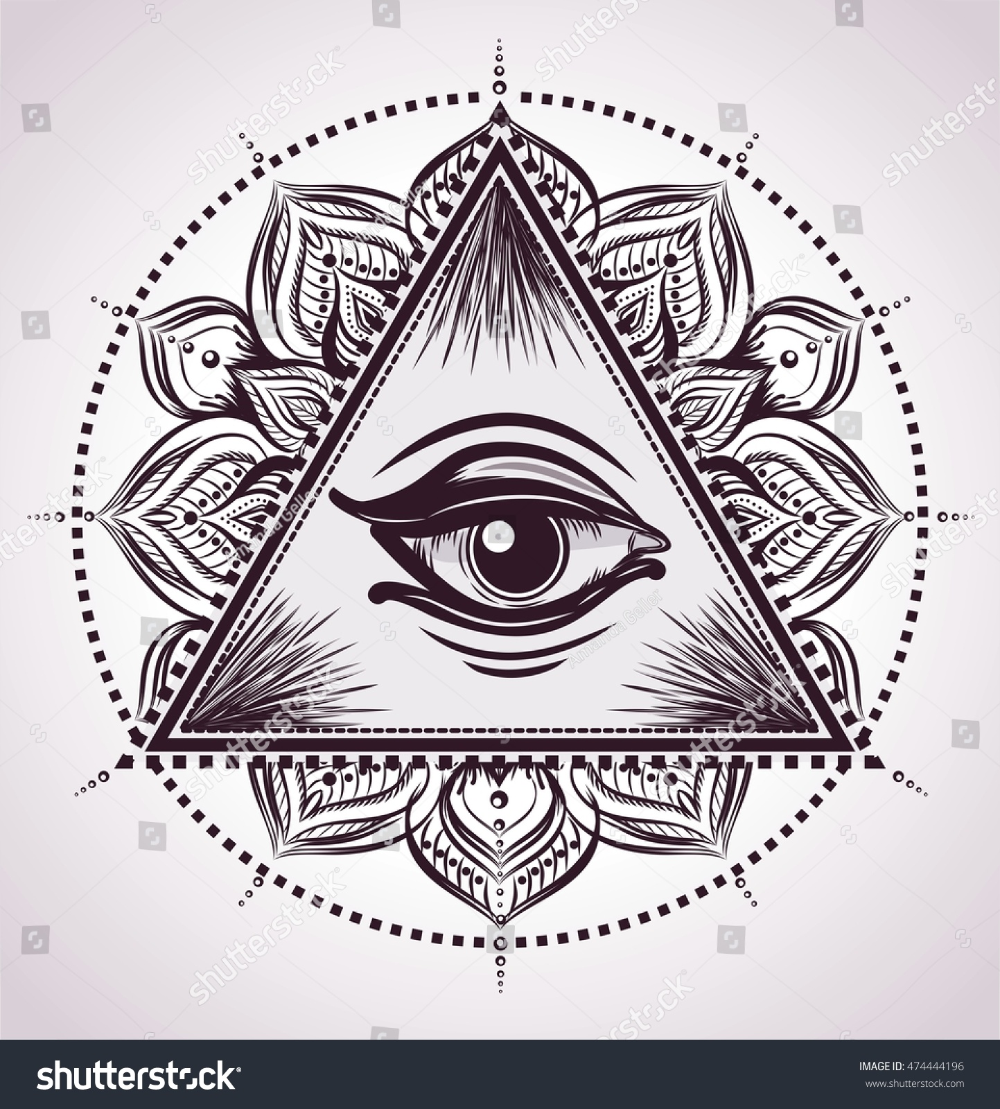 All Seeing Eye Pyramid Symbol Flower Stock Vector Royalty Free