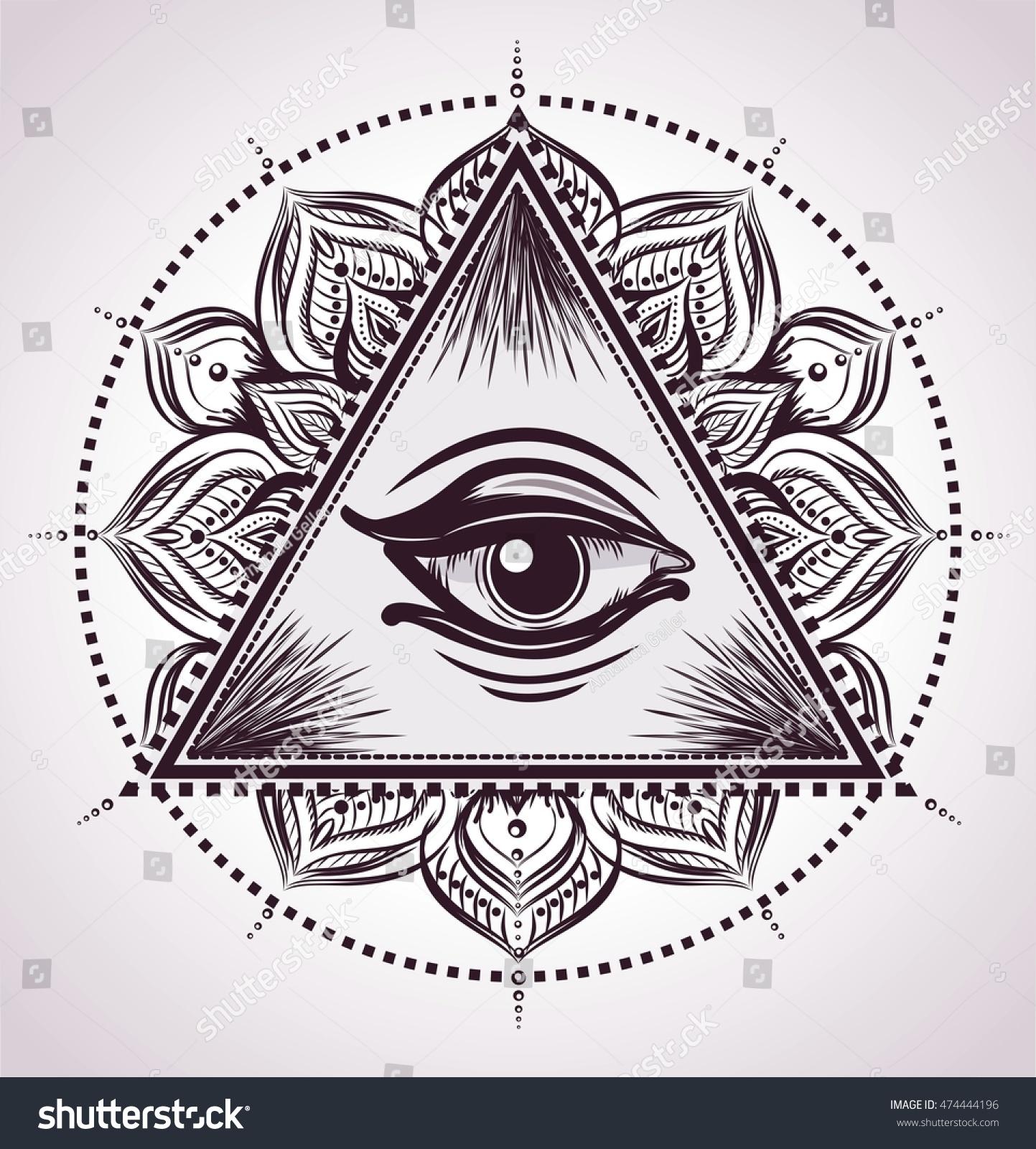 All Seeing Eye Pyramid Symbol Flower Stock Vector 474444196