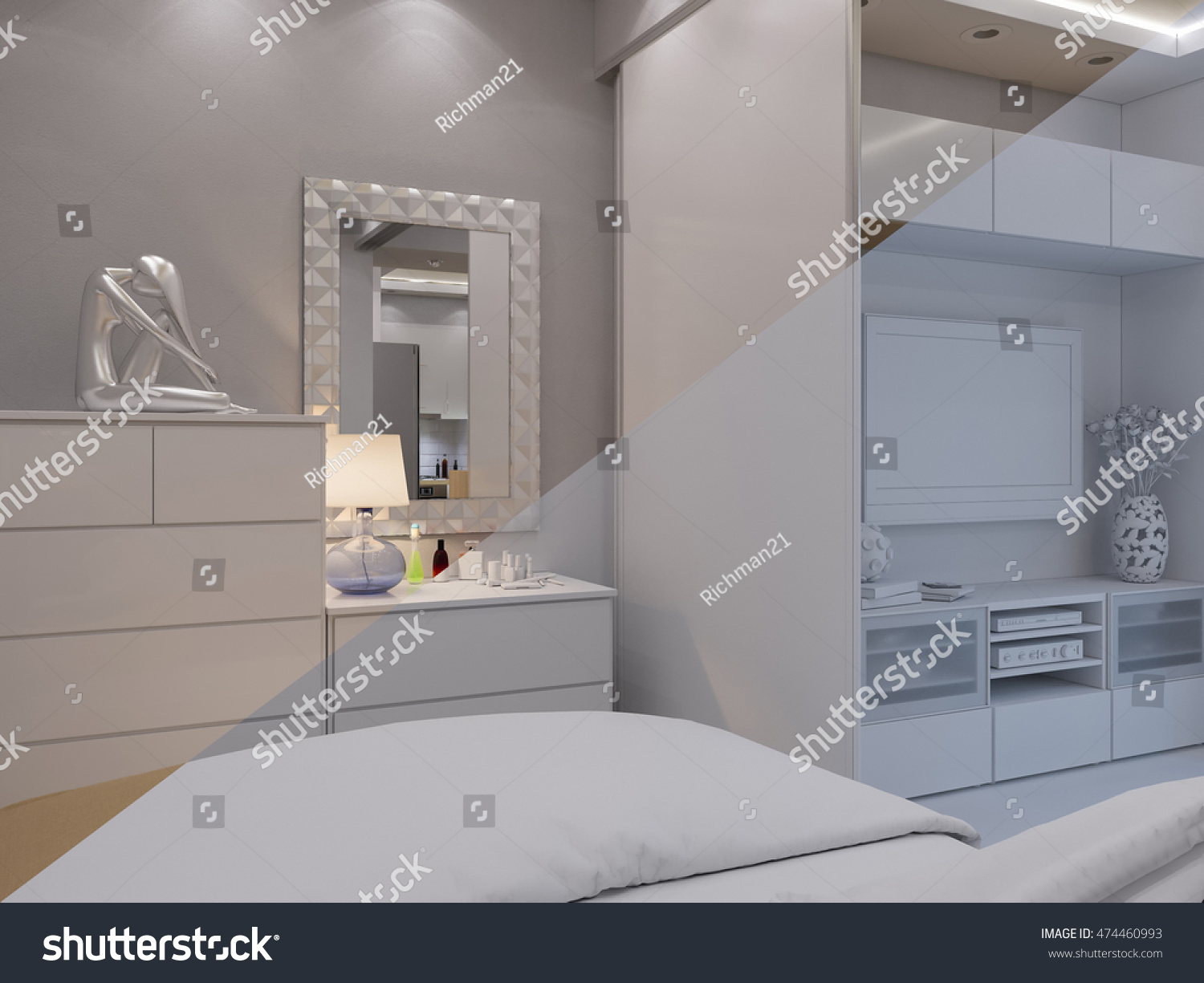 3d Illustration Living Room And Bedroom Interior Design Modern