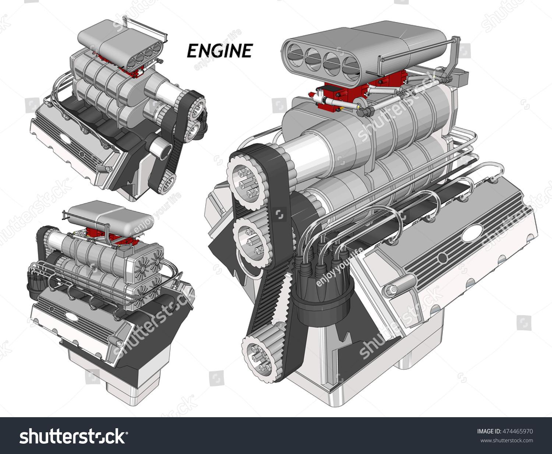 Wireframe 3d Engines Wire Center Software Electrobrahim Car Engine Stock Photo Vector Illustration Rh Shutterstock Com Female Head