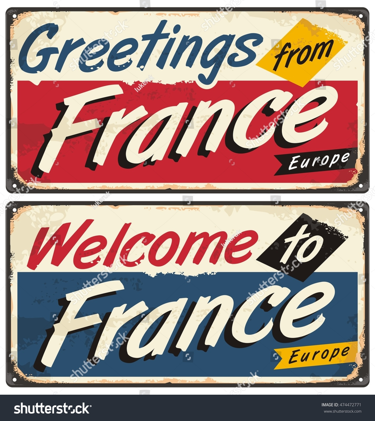 Welcome france retro metal plate templates stock vector royalty welcome to france retro metal plate templates vintage souvenir or postcard concept on antique tin m4hsunfo