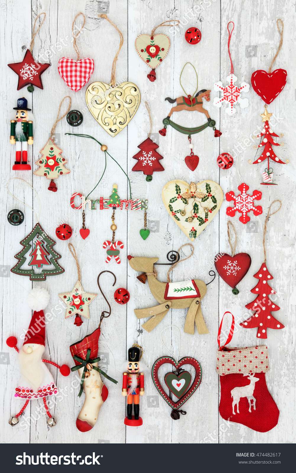 Old Fashioned Christmas Tree Decorations Baubles Stock Photo (Edit ...