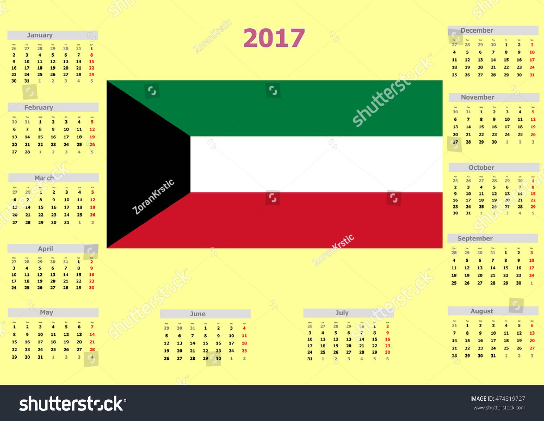 Year Calendar Kuwait : Calendar kuwait country flag stock illustration