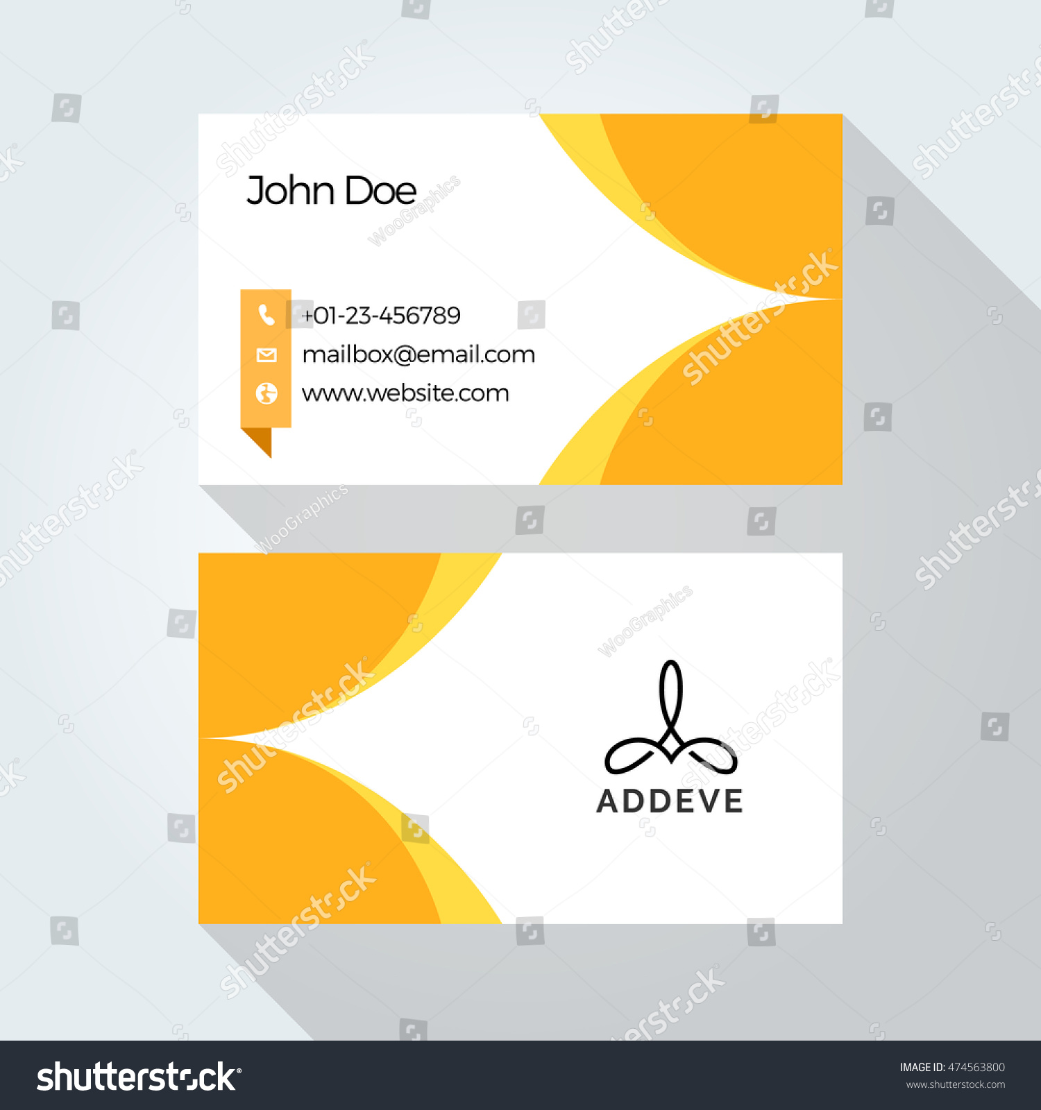 Yellow Abstract Wave Business Card Vector Graphic Design Template Floral In White Background
