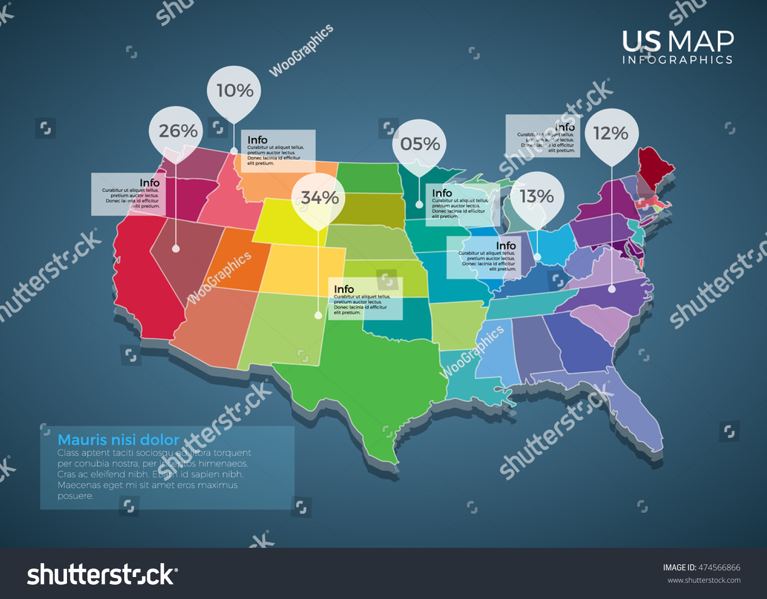 Us Map Infographics Design Vector Template Stock Vector - Create a us map graph