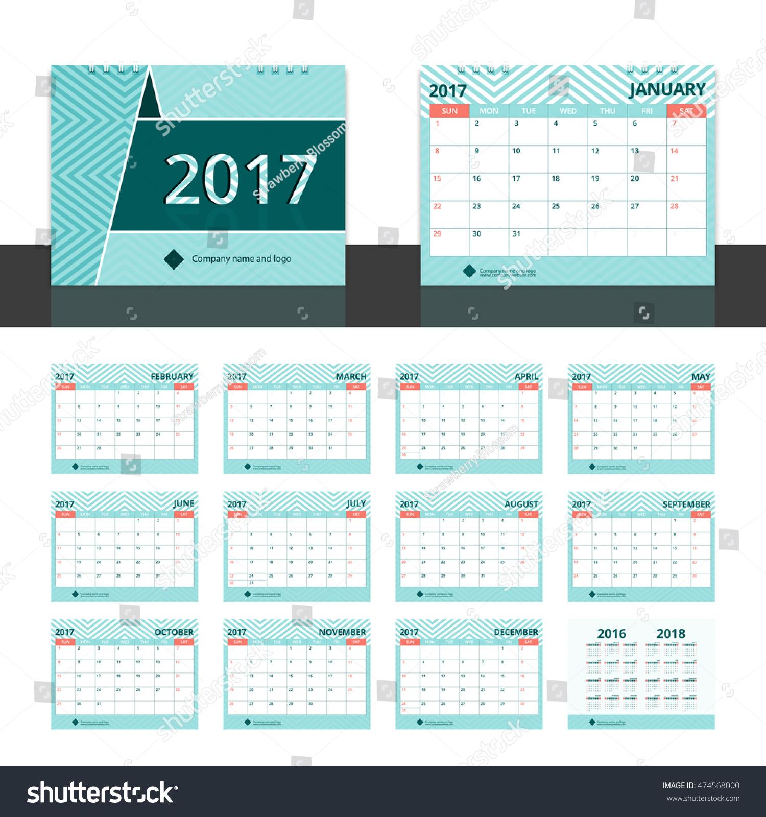 Corporate Calendar 2017 : Desk calendar corporate business planner stock vector