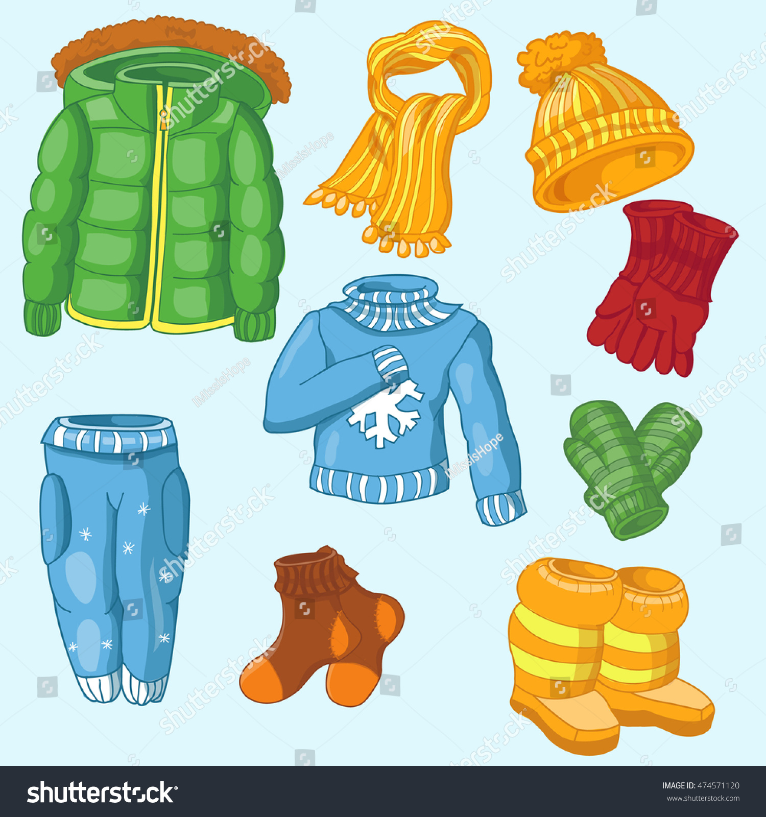 winter clothing set consisting winter jacketswinter stock vector